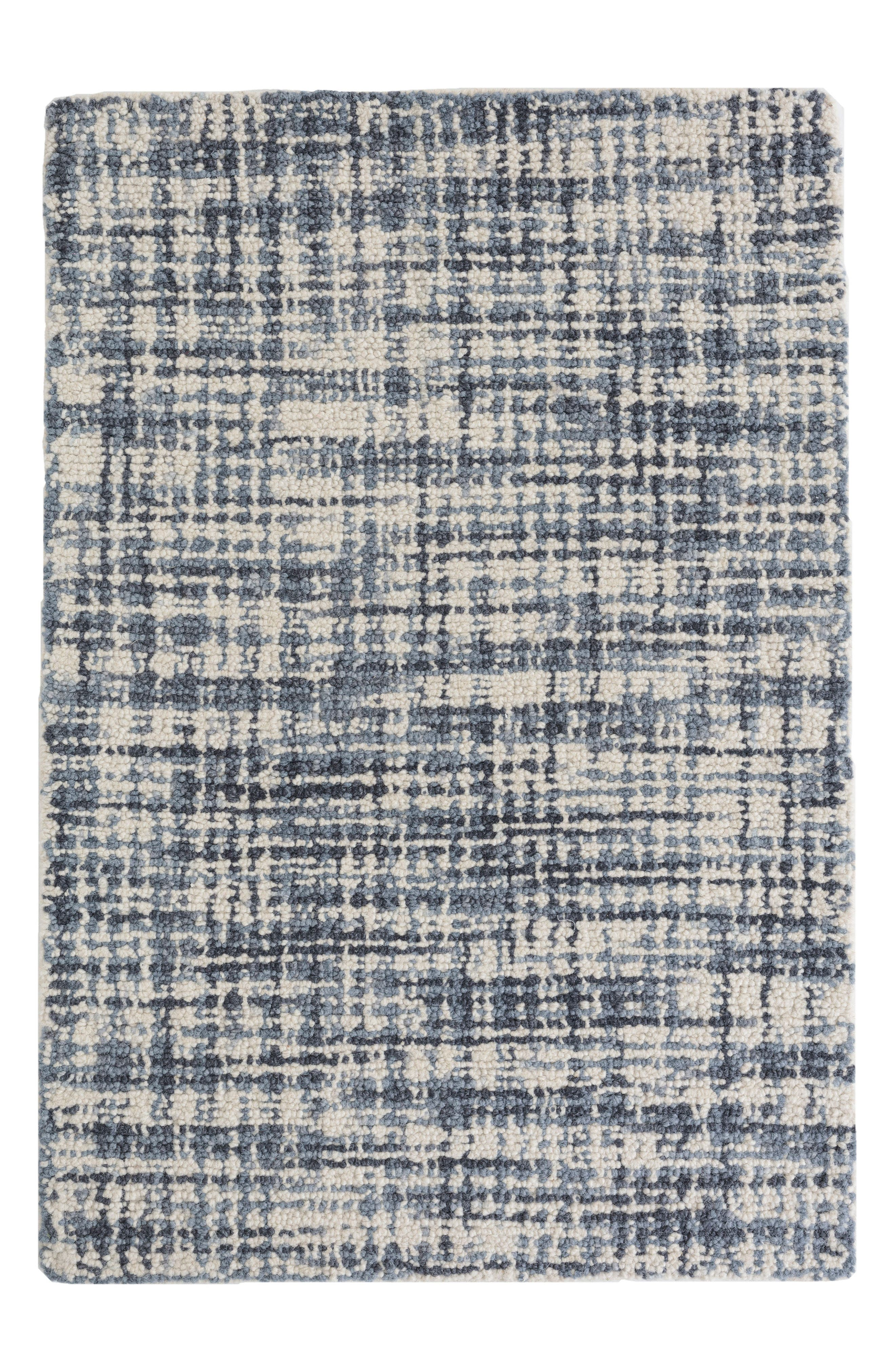 Olio Hooked Wool Rug,                         Main,                         color, Blue