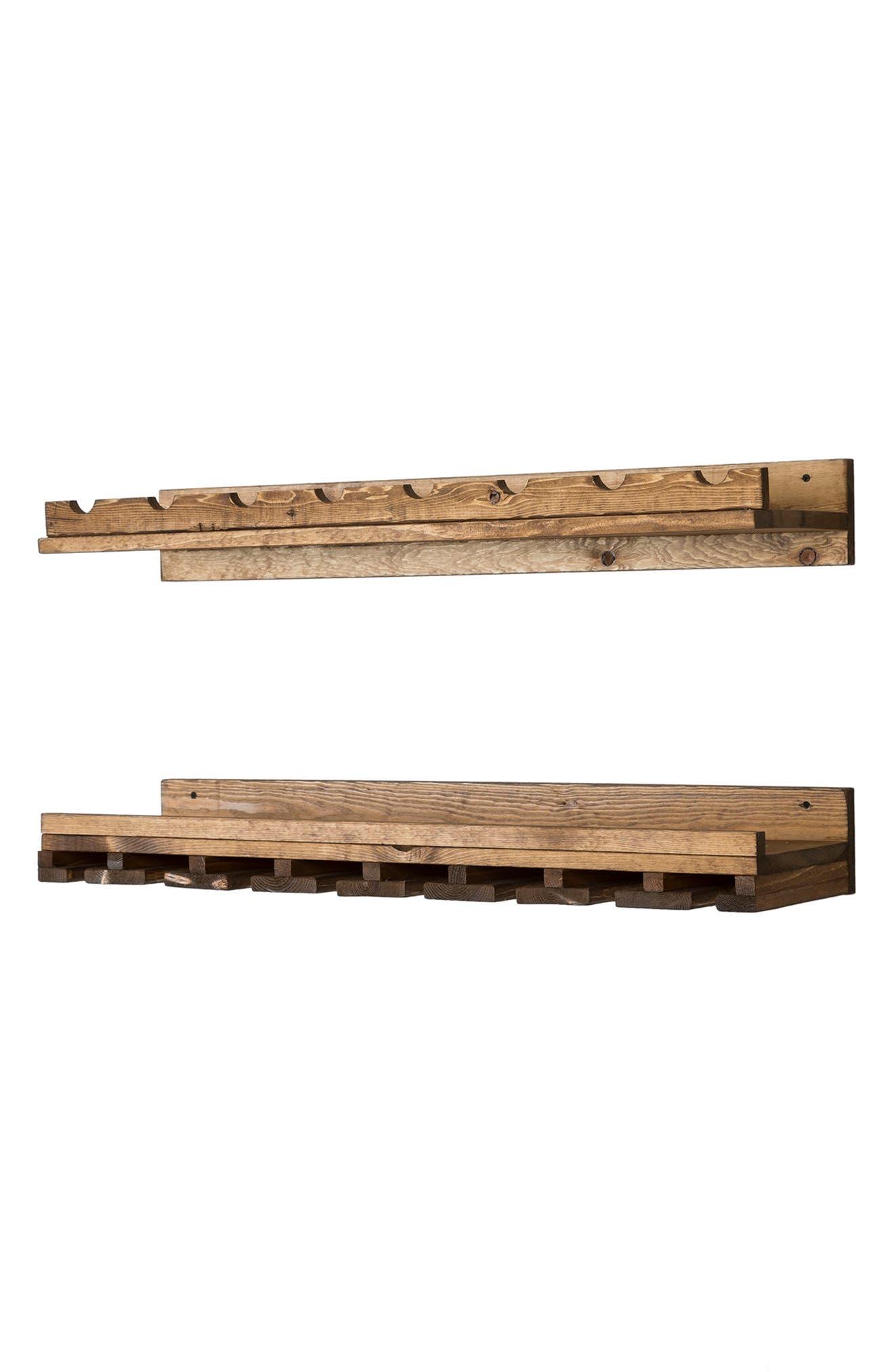 Set of 2 Pine Wood Wine Racks,                             Alternate thumbnail 5, color,                             Dark Walnut