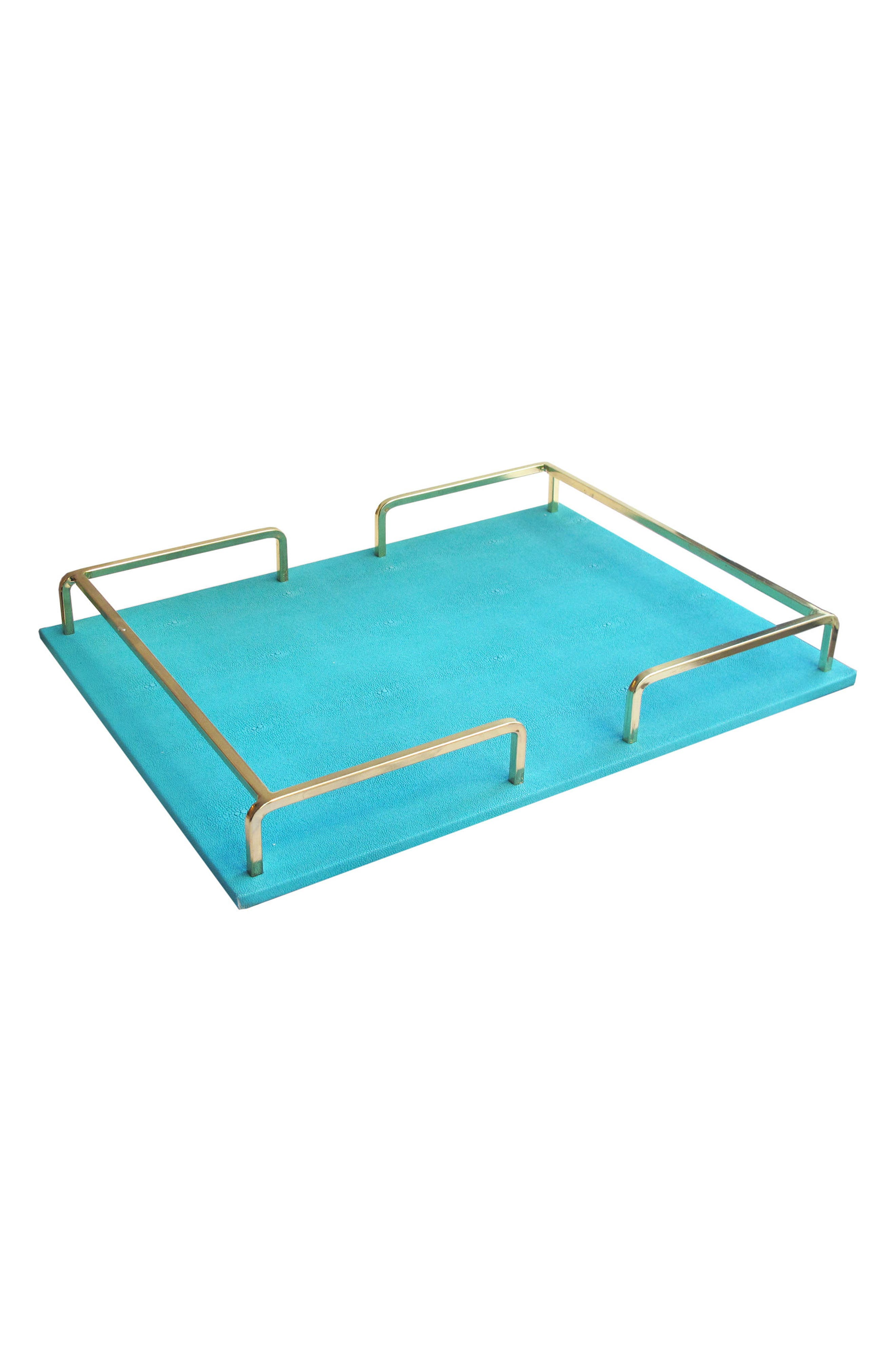 Shagrin Serving Tray,                         Main,                         color, Teal/ Gold