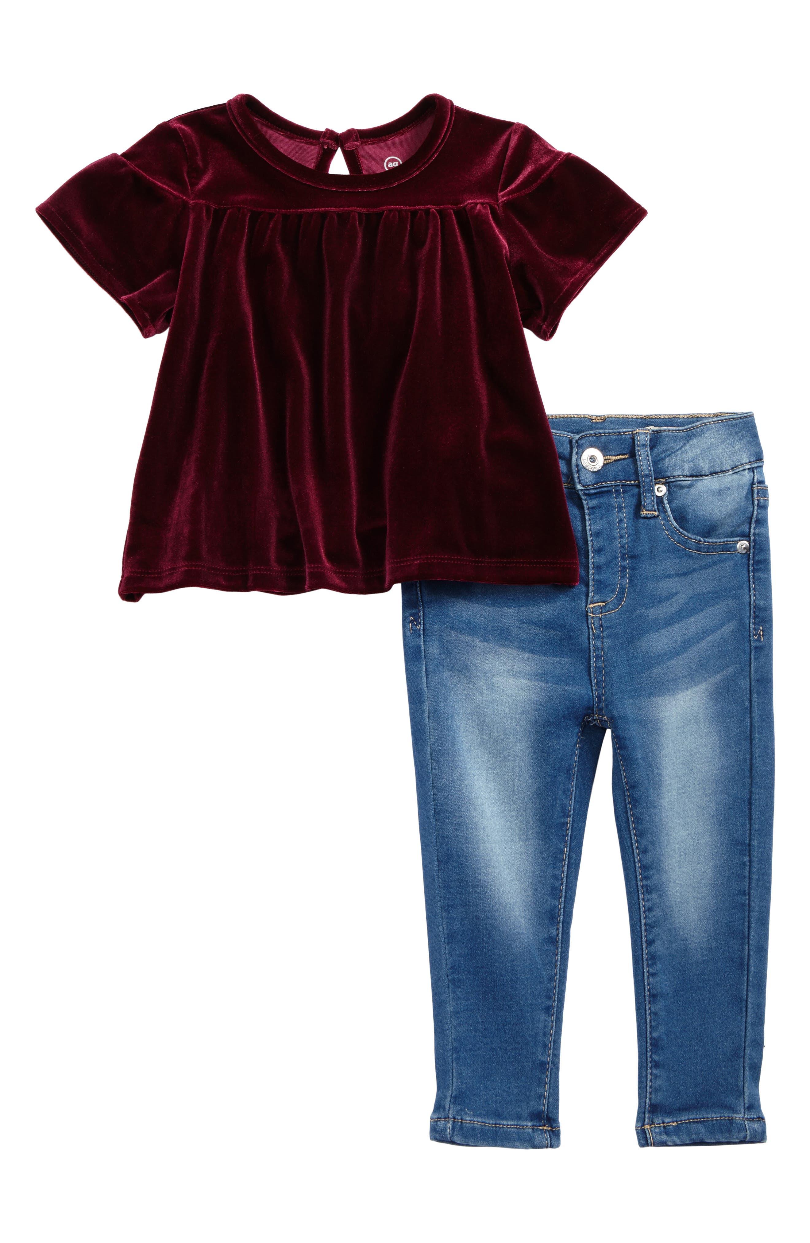 Velvet Top & Knit Jeans Set,                         Main,                         color, Vintage Sky