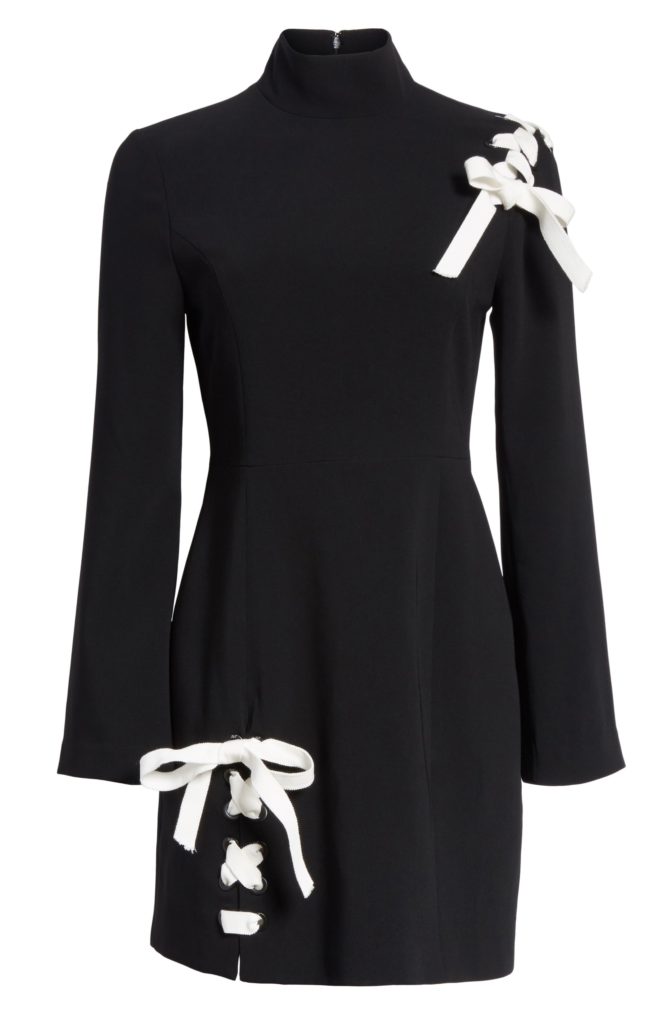 Izella Crepe Minidress,                             Alternate thumbnail 6, color,                             Black/ Ivory