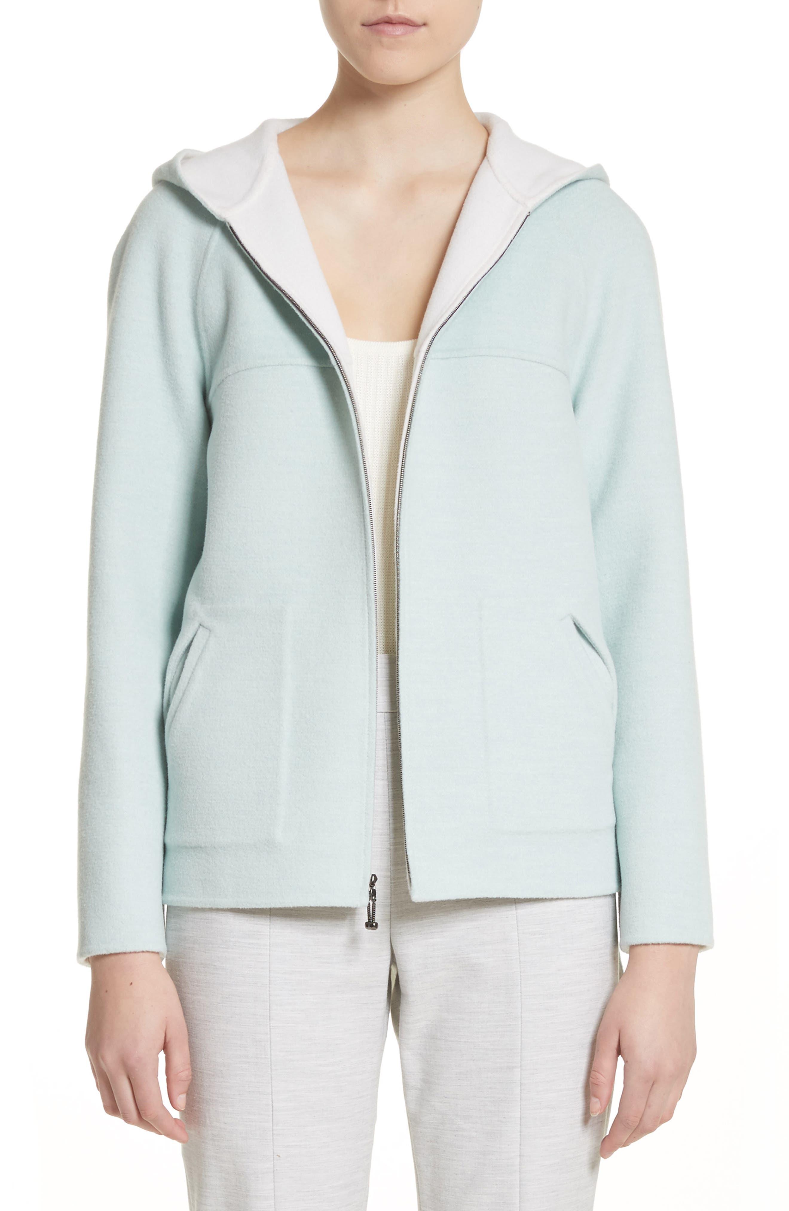 Reversible Wool & Angora Blend Sweatshirt,                             Main thumbnail 1, color,                             Mint/ Frost