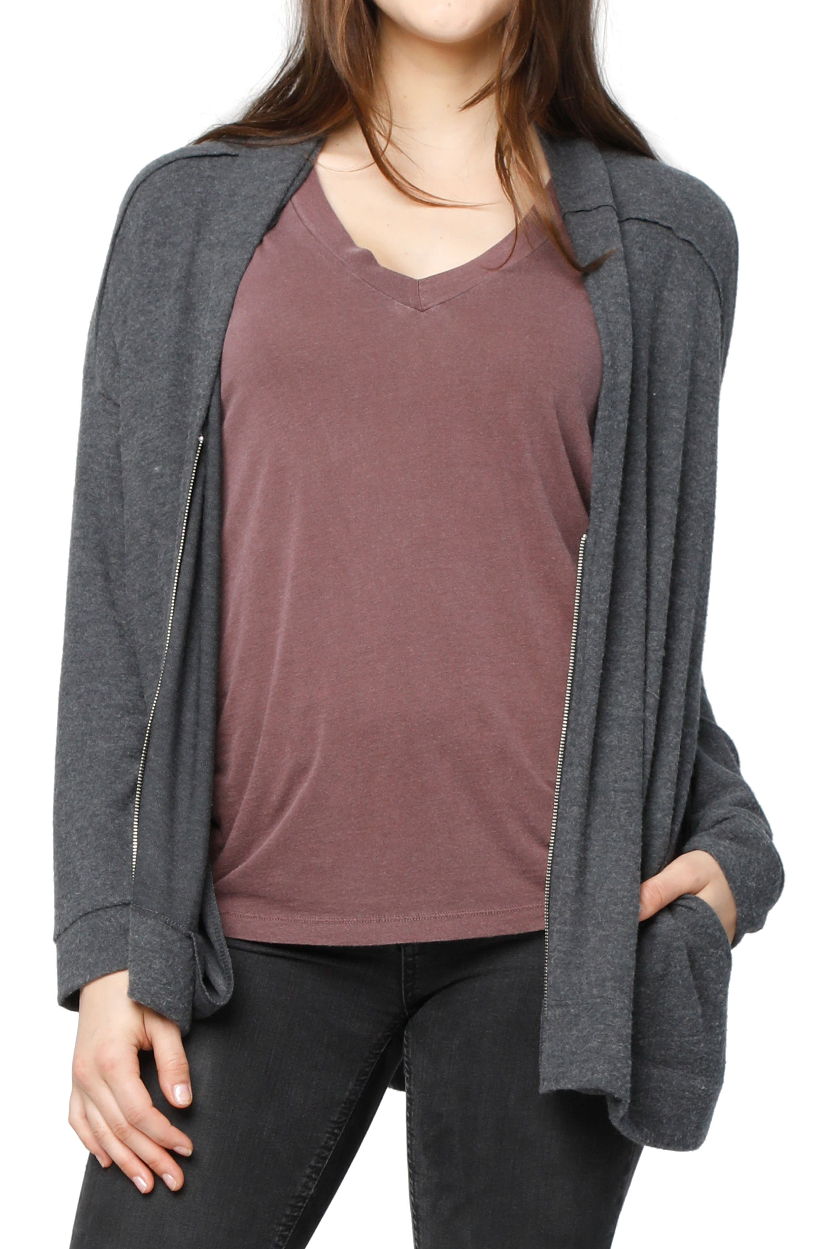 Shannon Front Zip Cardigan,                         Main,                         color, Charcoal