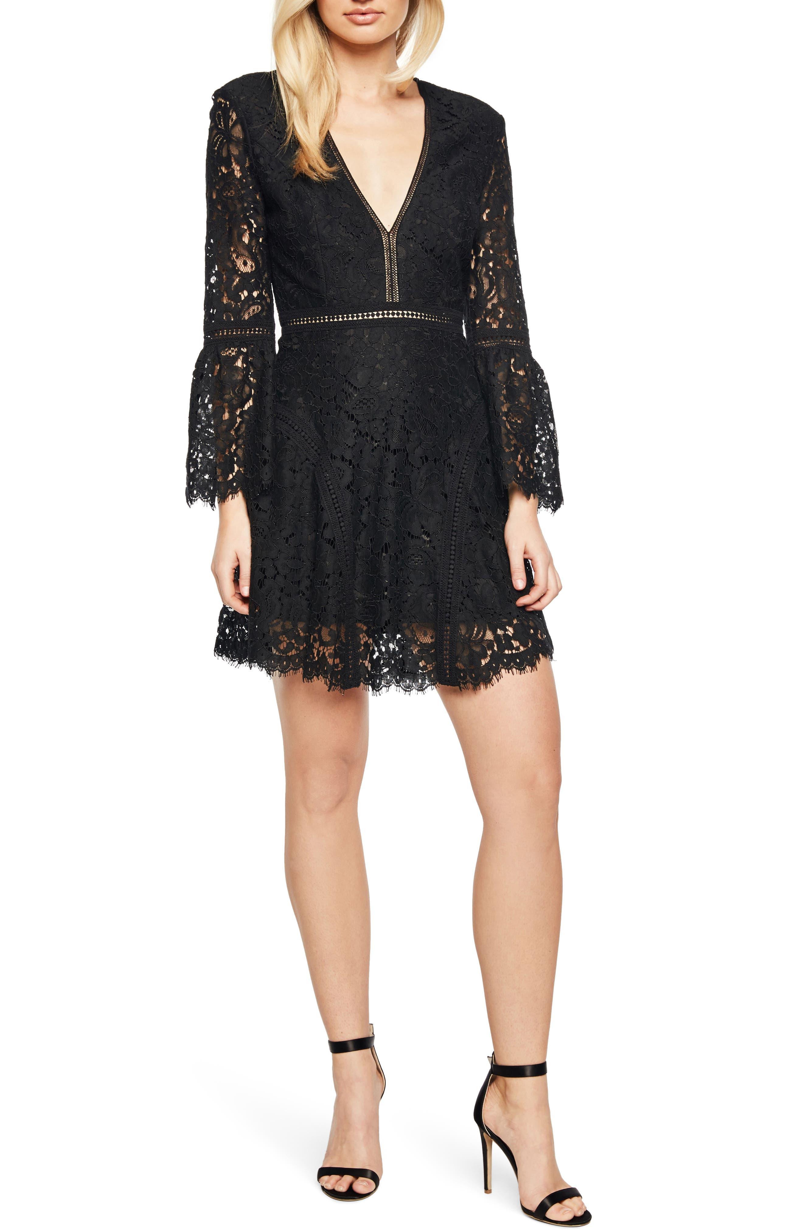Midnight Lace Minidress,                         Main,                         color, Black