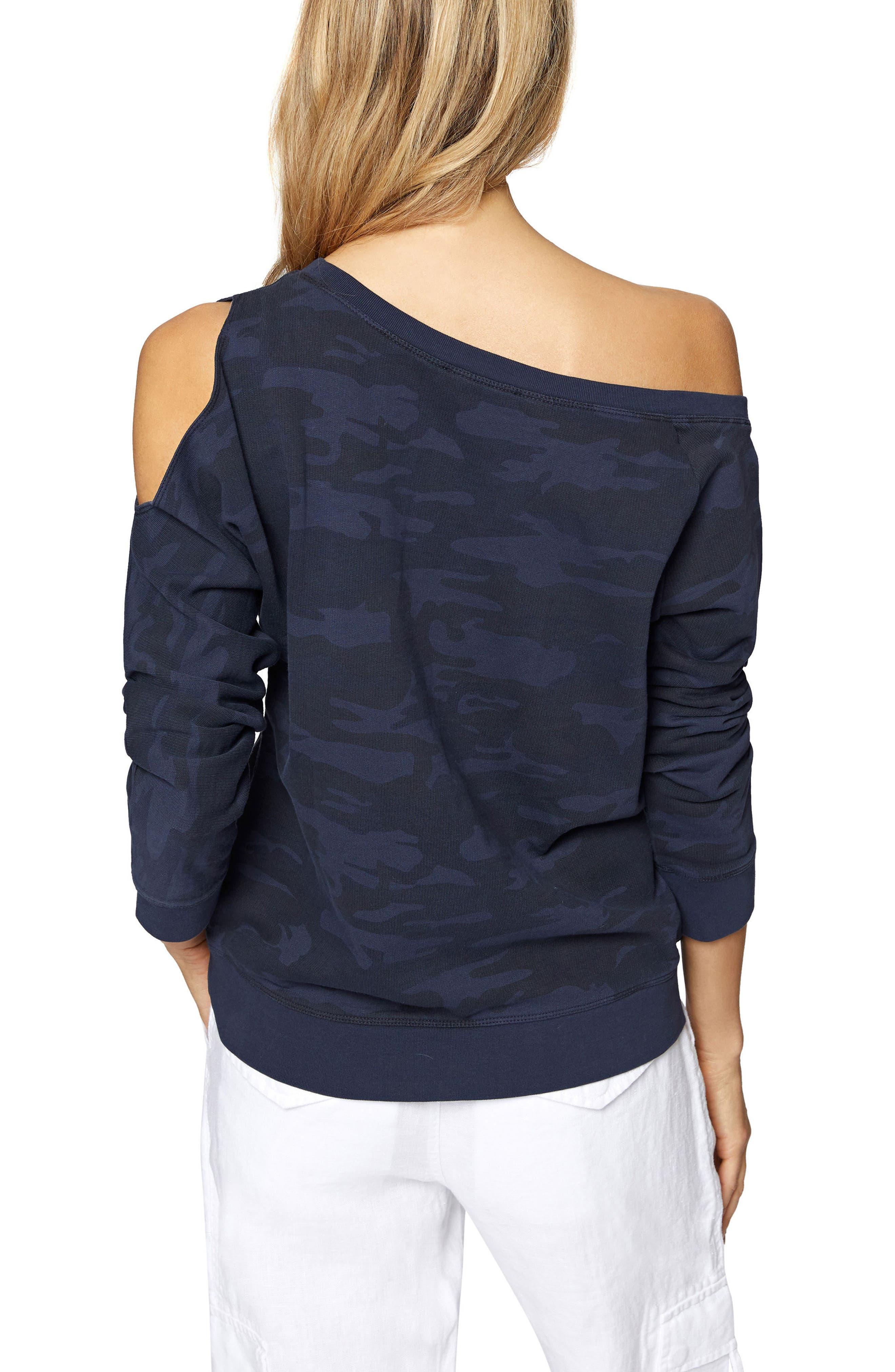 Alexi Asymmetrical Sweatshirt,                             Alternate thumbnail 2, color,                             Heritage Navy Camo
