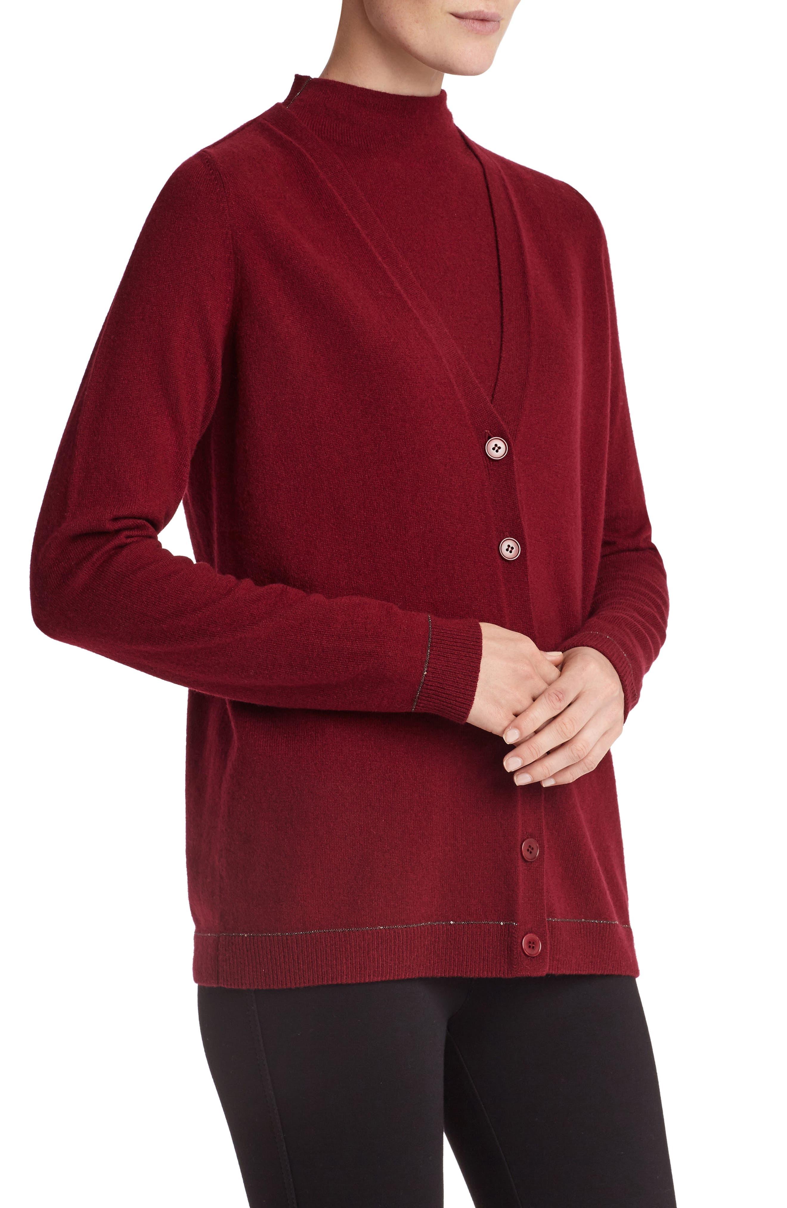 Sequin Trim Cashmere Mock Neck Sweater,                             Alternate thumbnail 5, color,                             Shiraz