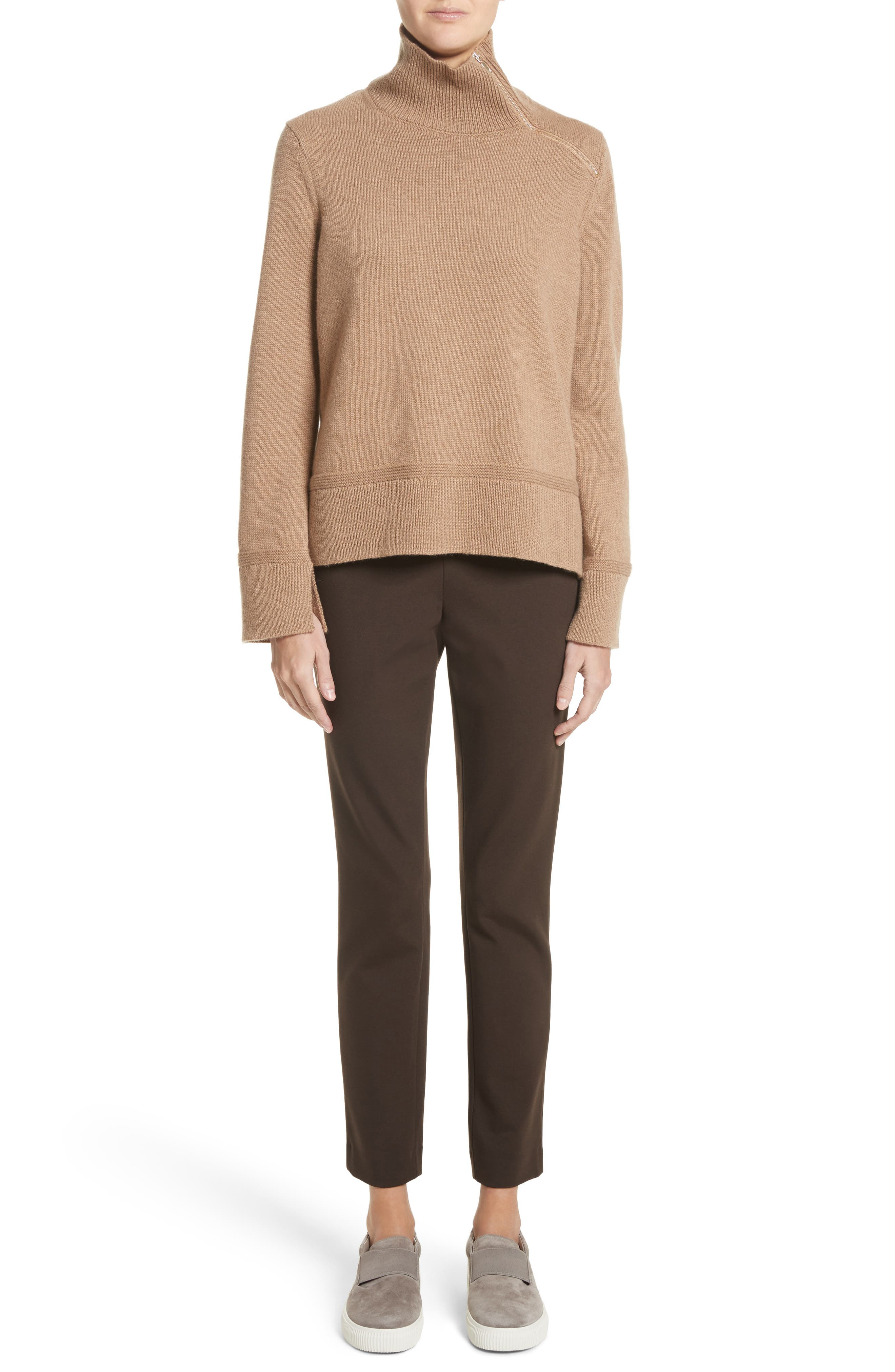 Suede Zip Detail Wool & Cashmere Crop Sweater,                             Alternate thumbnail 7, color,                             Cammello Melange