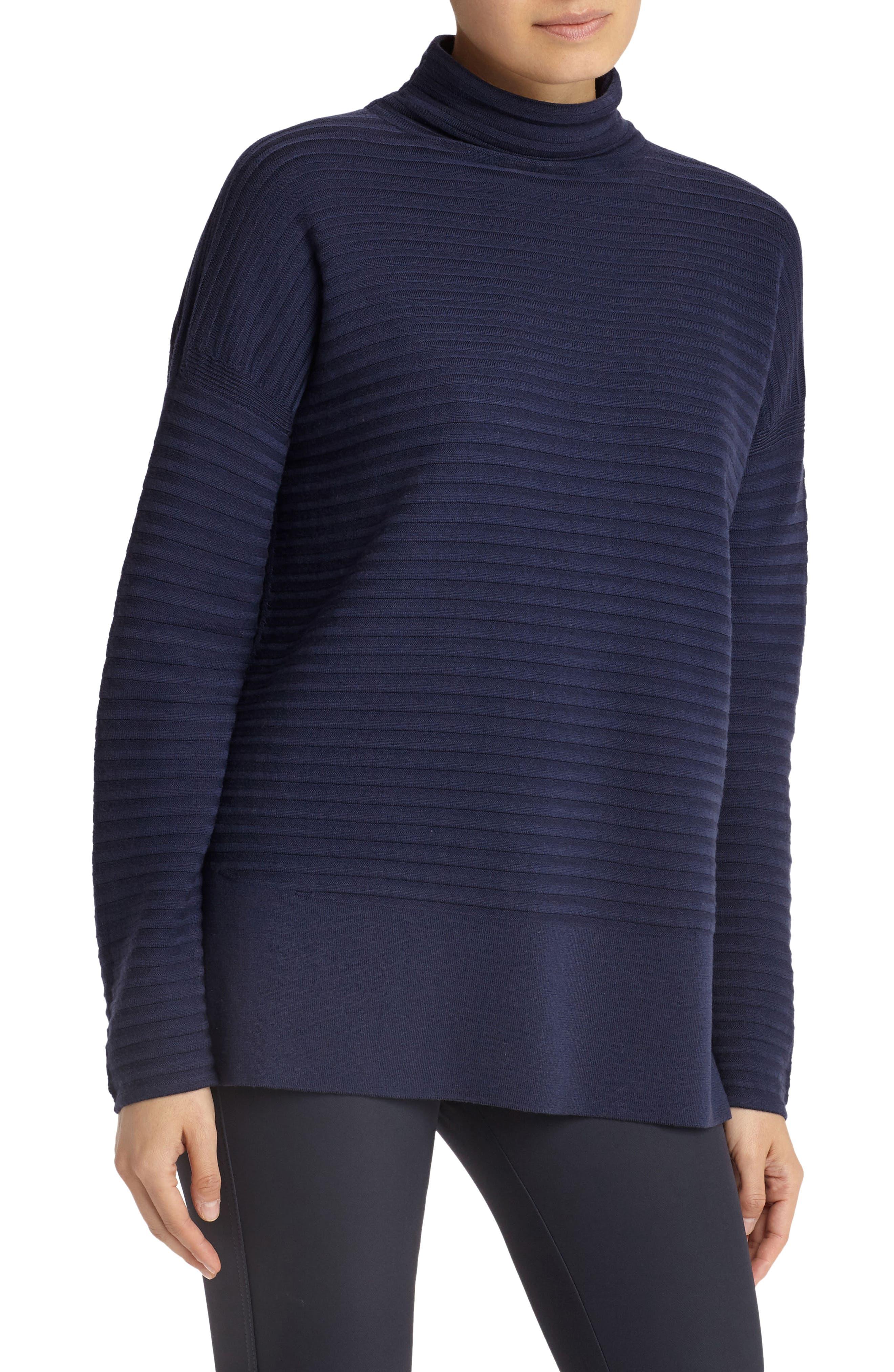 Rib Effect Wool Turtleneck,                         Main,                         color, Raisin