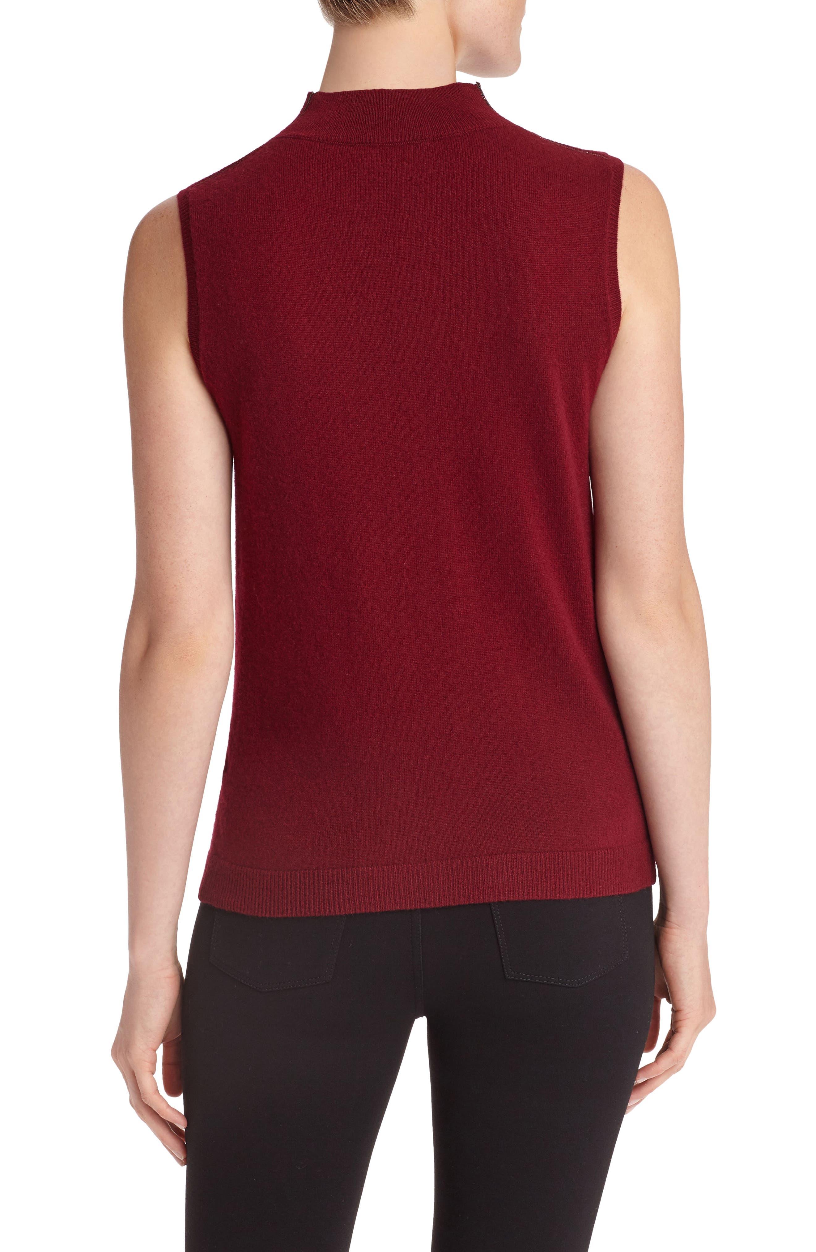 Sequin Trim Cashmere Mock Neck Sweater,                             Alternate thumbnail 2, color,                             Shiraz