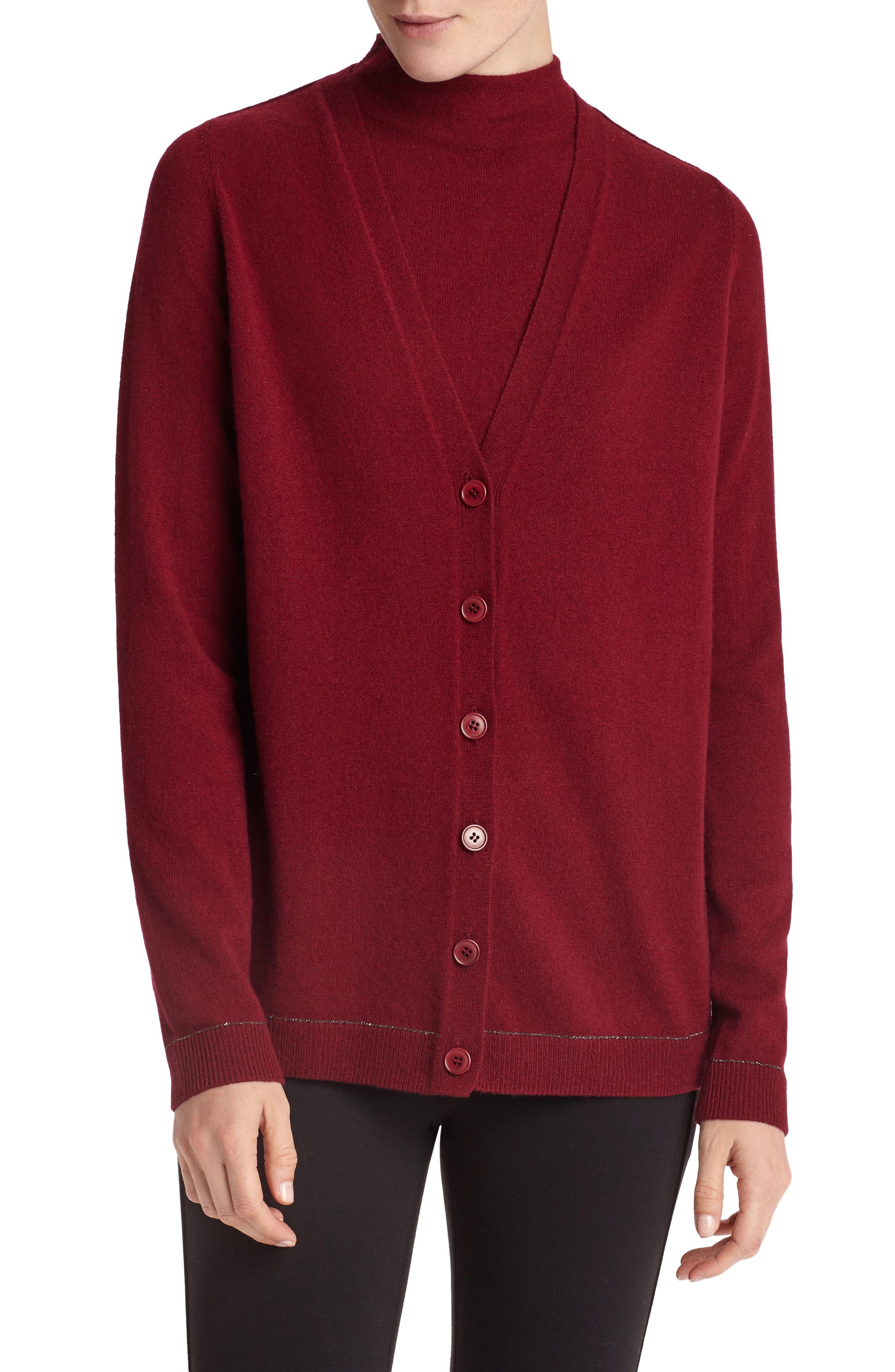 Sequin Trim Cashmere Mock Neck Sweater,                             Alternate thumbnail 6, color,                             Shiraz