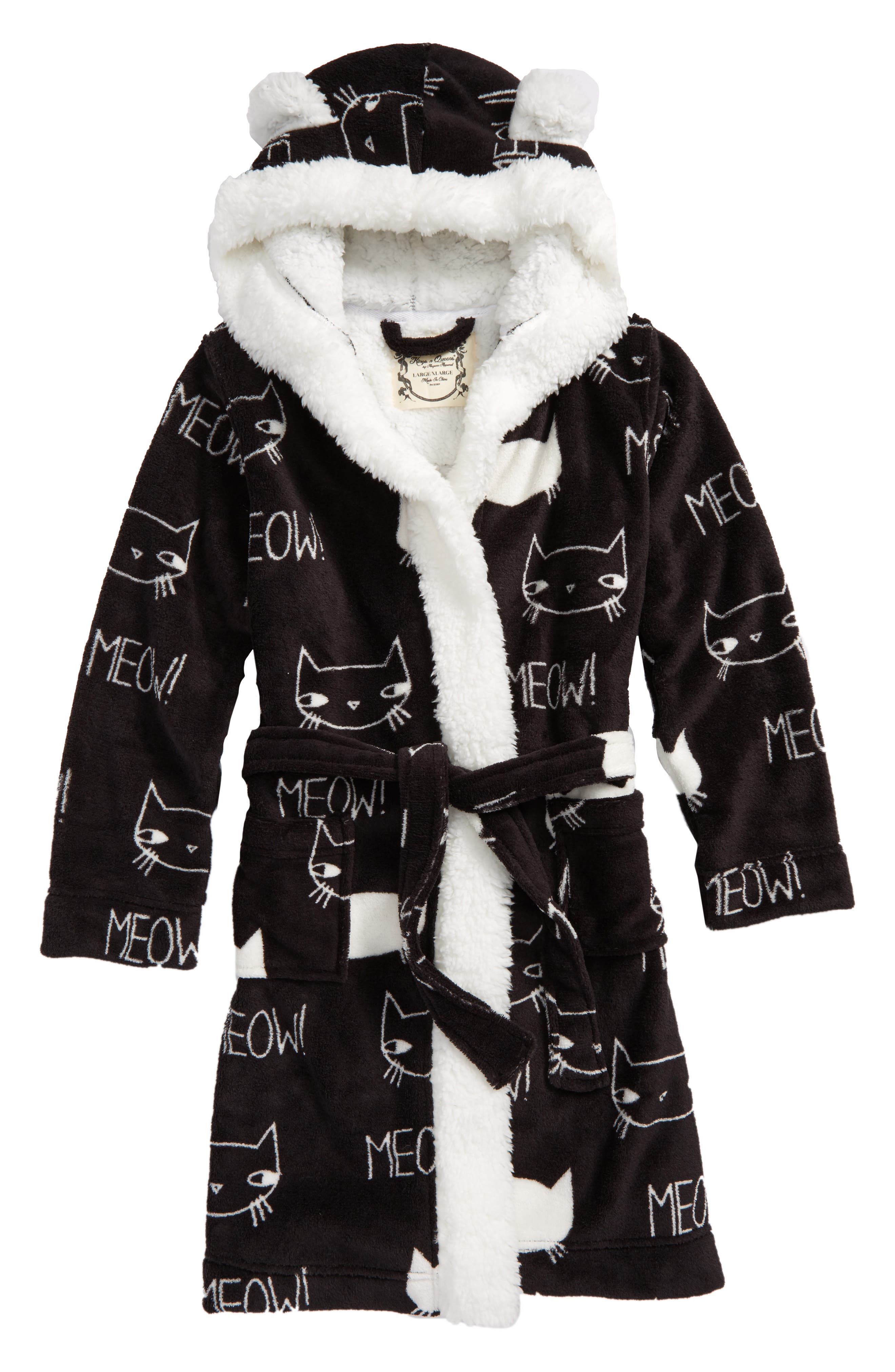 Aegean Kitty Print Robe,                         Main,                         color, Black And White