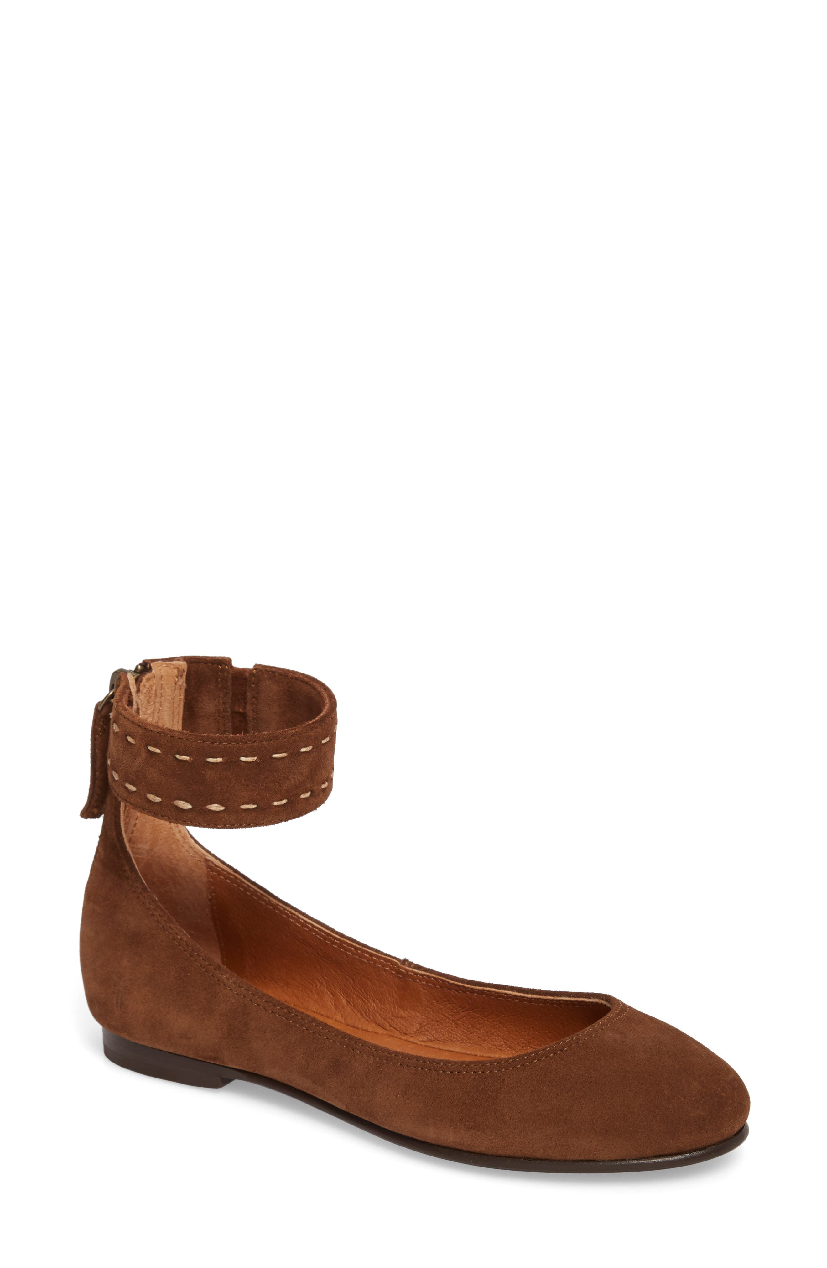 Carson Ankle Strap Ballet Flat,                         Main,                         color, Wood