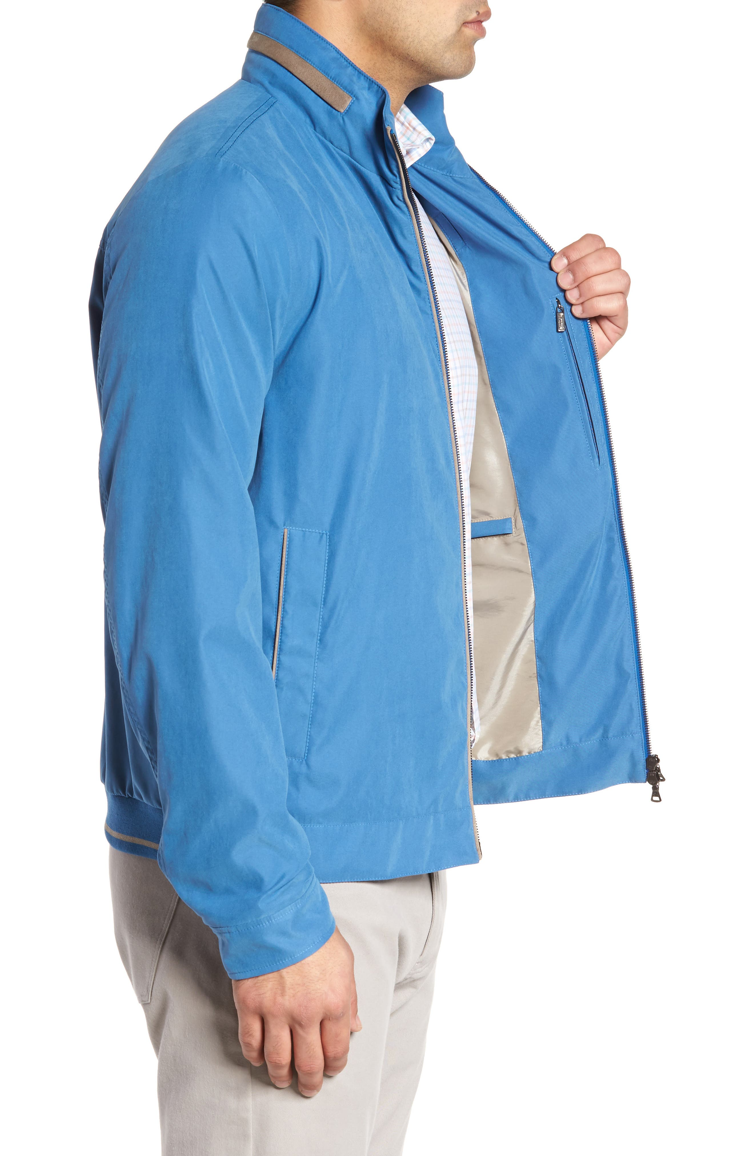 Paul&Shark Water Repellent Microfiber Jacket,                             Alternate thumbnail 3, color,                             Blue