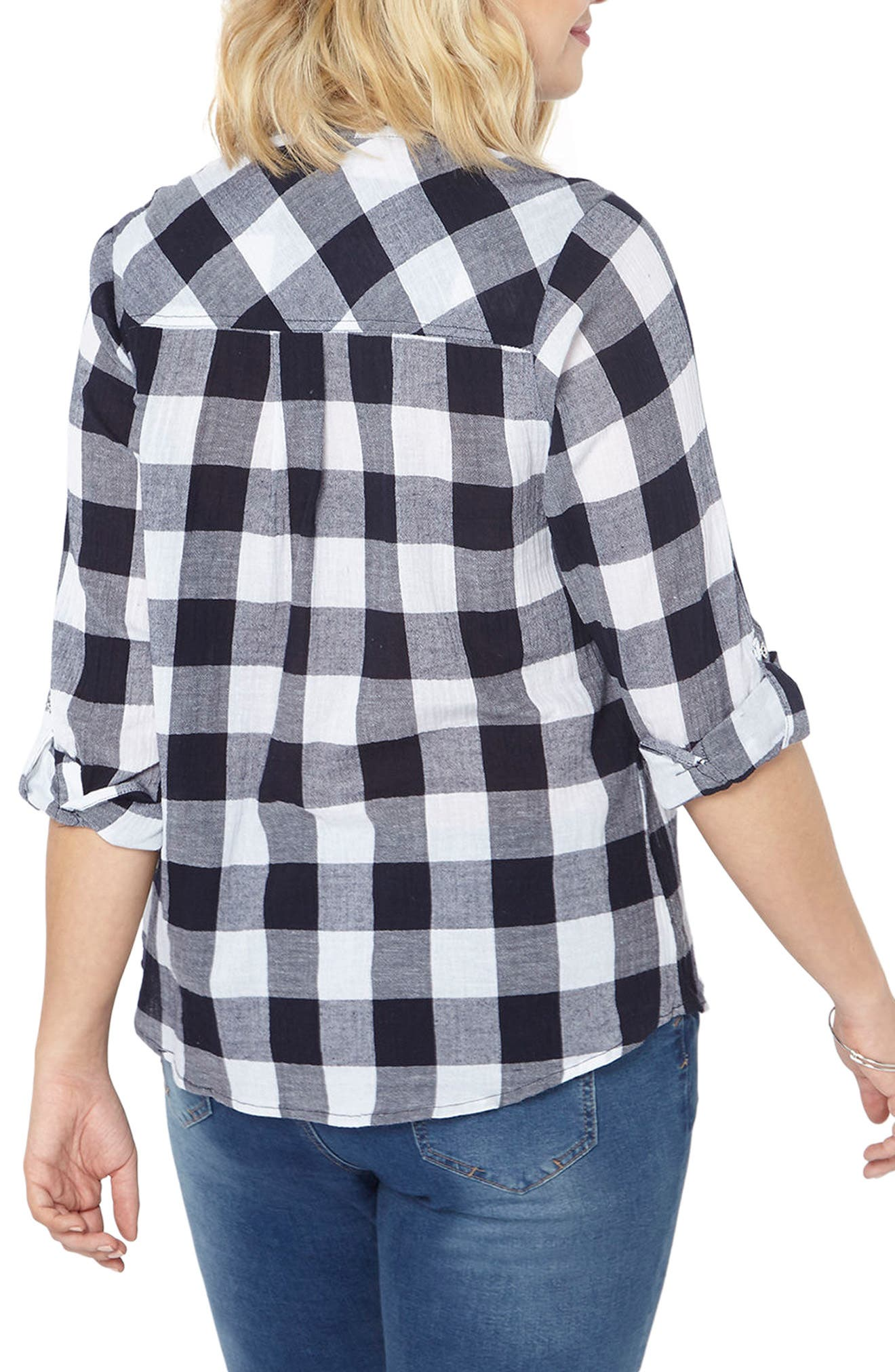 Gingham Embroidered Shirt,                             Alternate thumbnail 3, color,                             Navy/ White