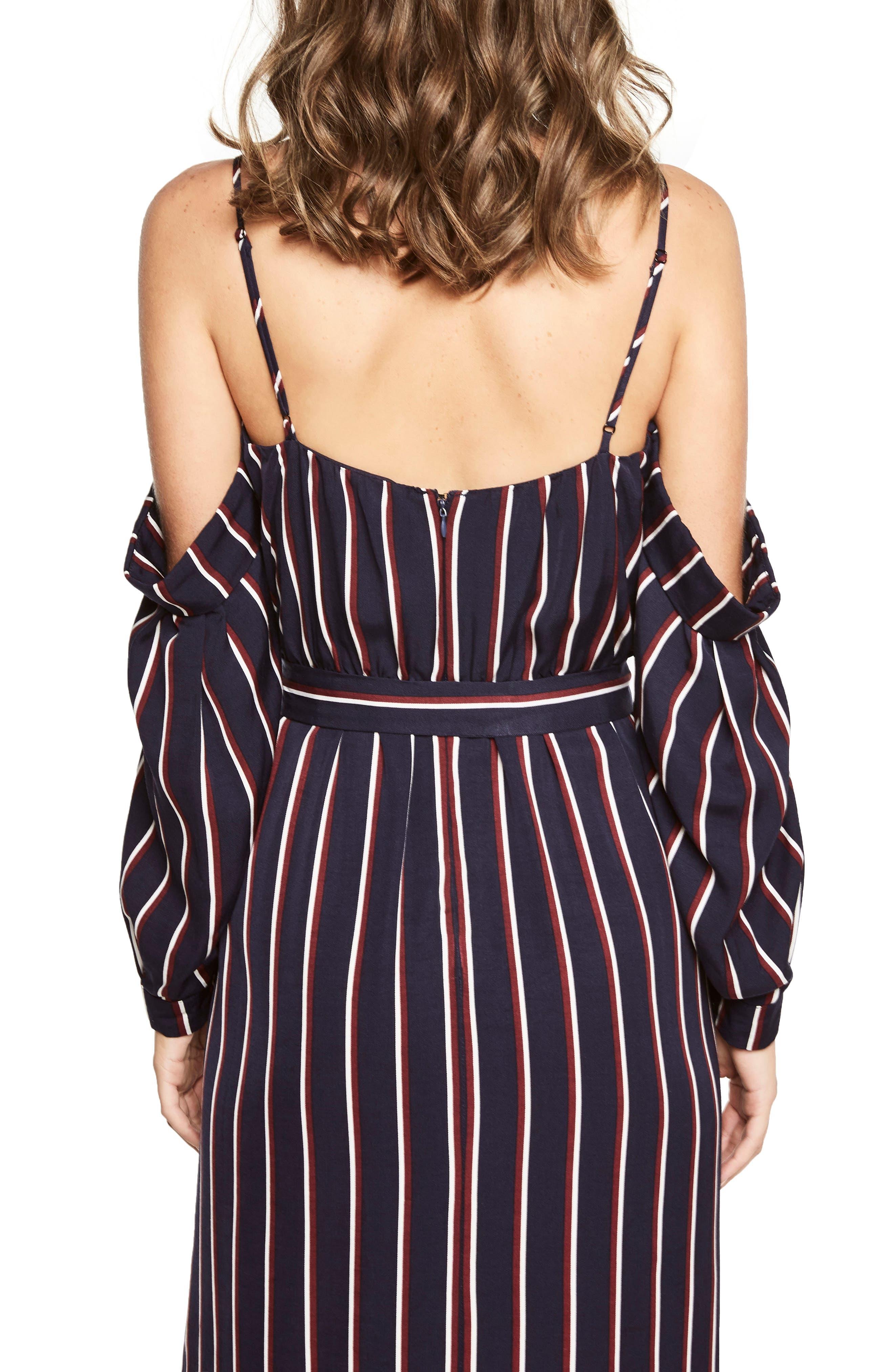 Paloma Off the Shoulder Dress,                             Alternate thumbnail 2, color,                             Navy Stripe