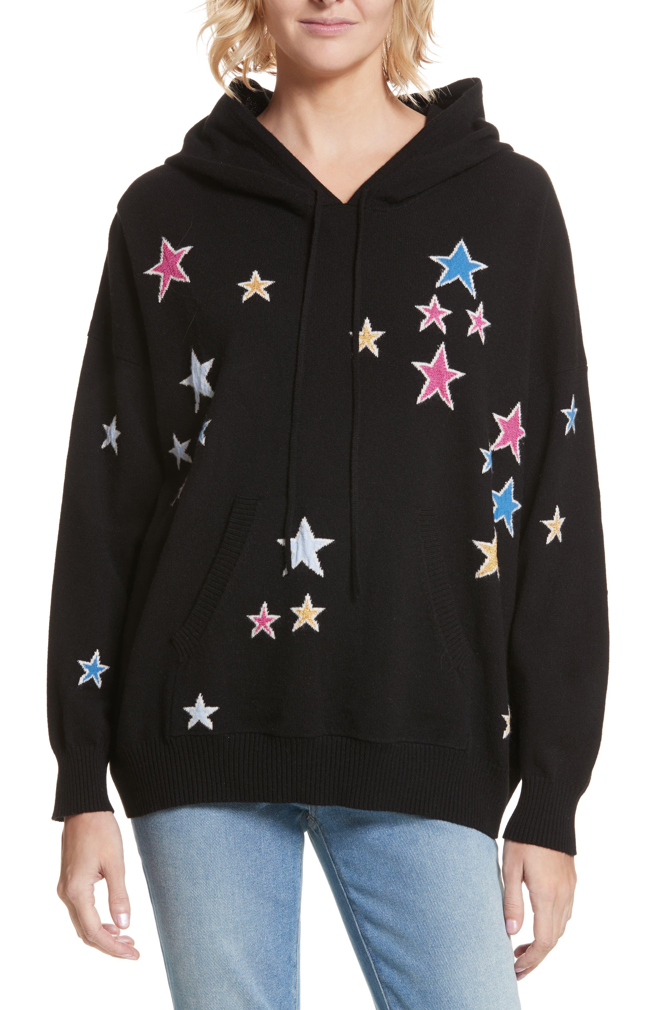 CHINTI & PARKER Acid Star Knit Cashmere Hoodie,                         Main,                         color, Black/ Multi