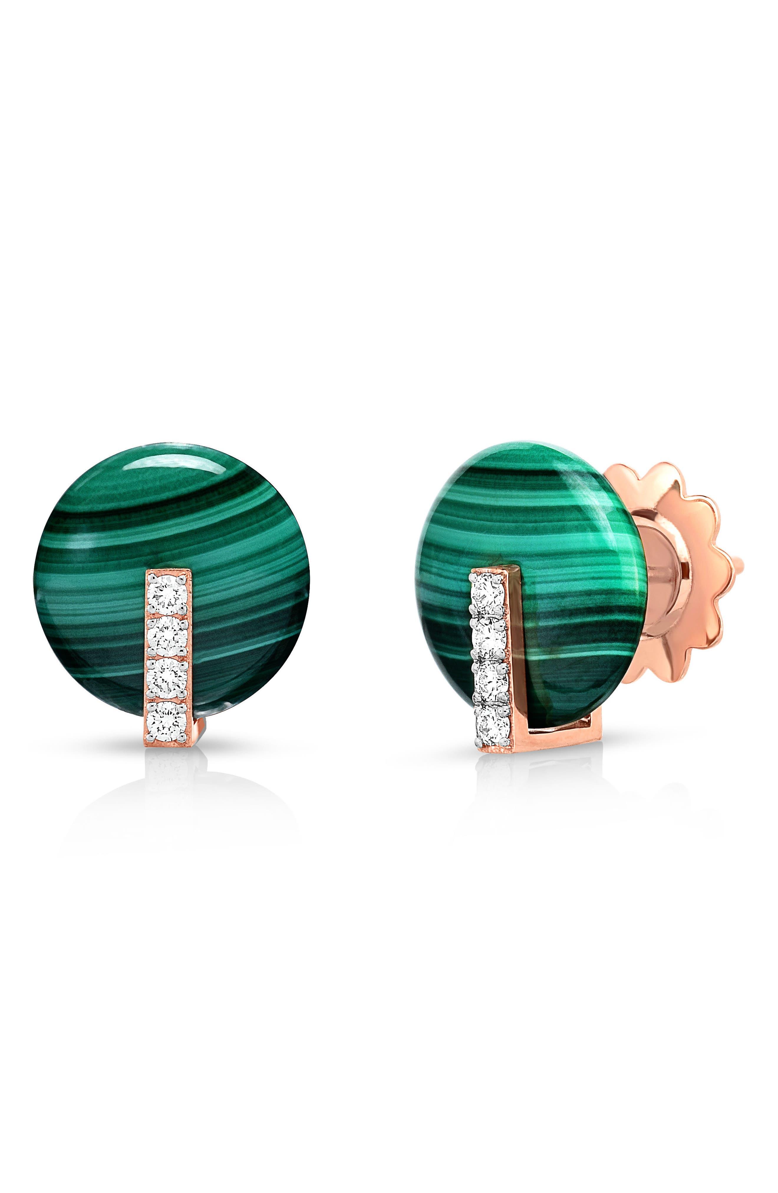 Alternate Image 1 Selected - Roberto Coin Mini Jade & Diamond Earrings