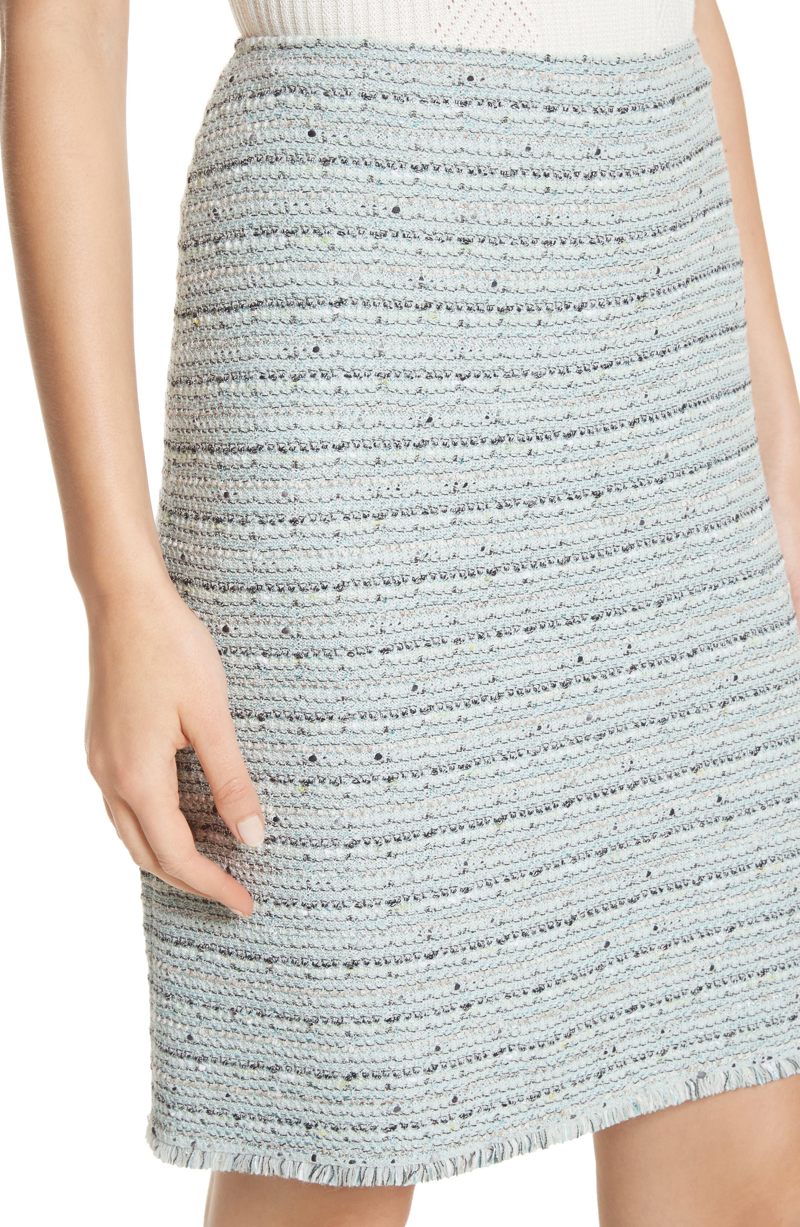Riana Tweed Pencil Skirt,                             Alternate thumbnail 4, color,                             Mint Multi