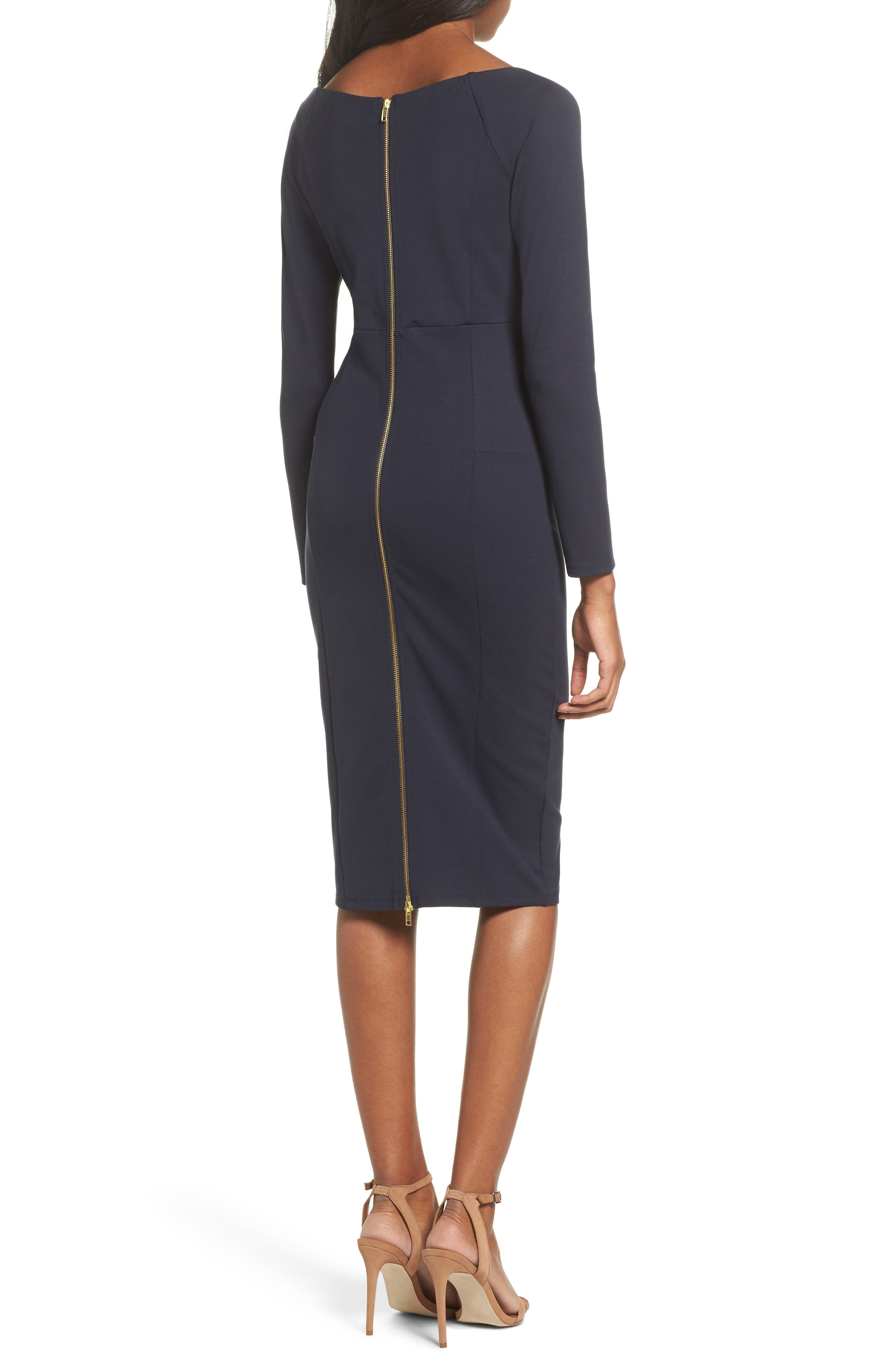 Maile Sheath Dress,                             Alternate thumbnail 2, color,                             Navy