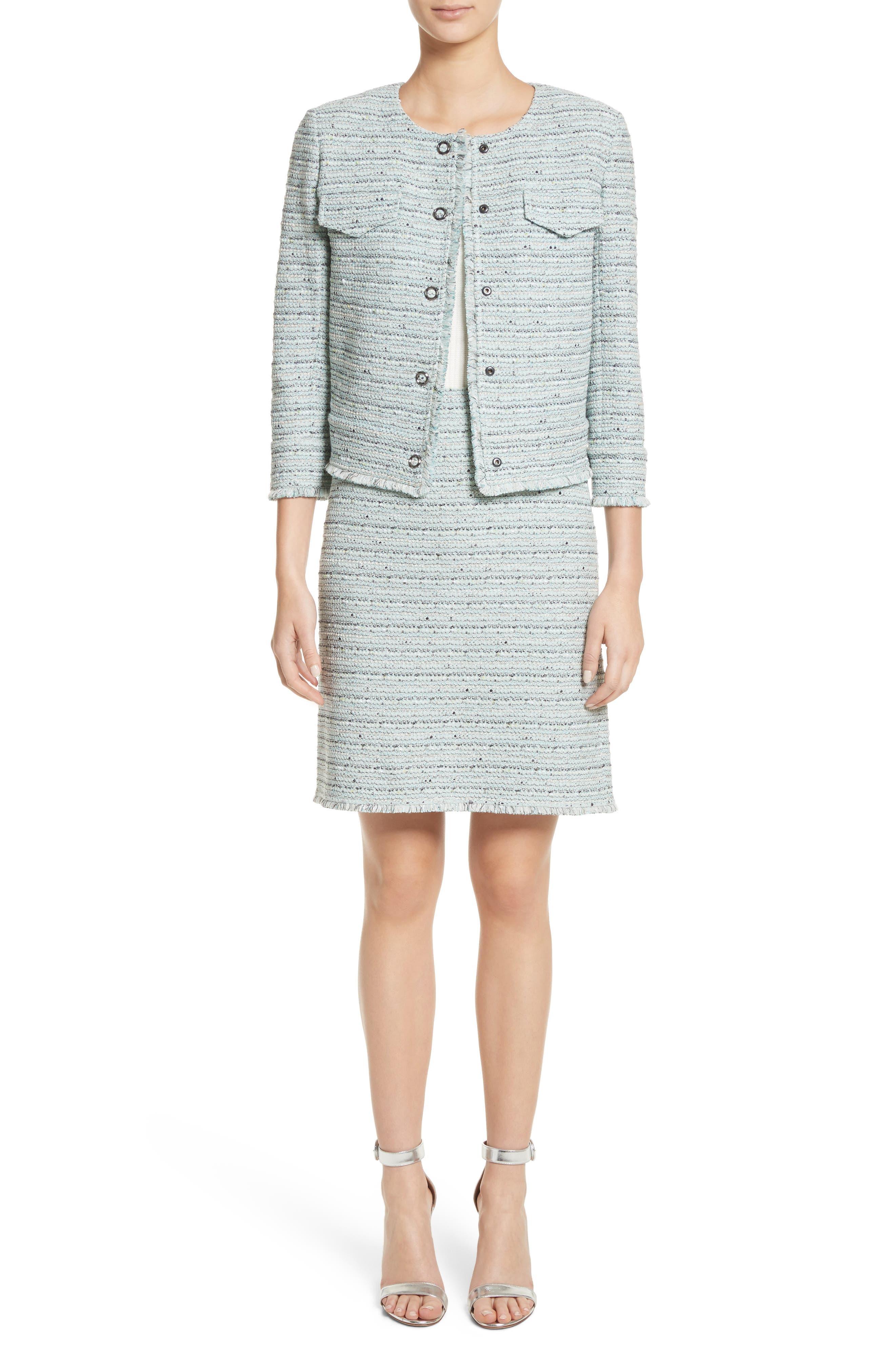 Riana Tweed Pencil Skirt,                             Alternate thumbnail 8, color,                             Mint Multi