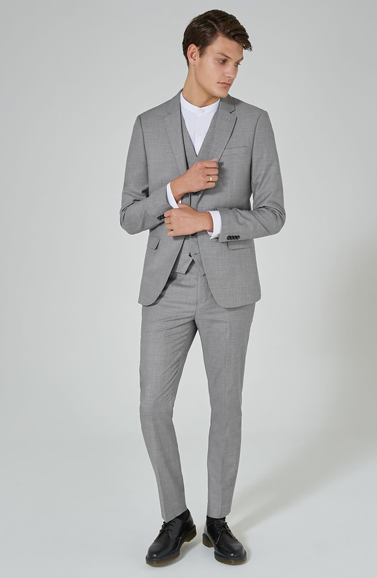 Skinny Fit Suit Jacket,                             Alternate thumbnail 2, color,                             Grey