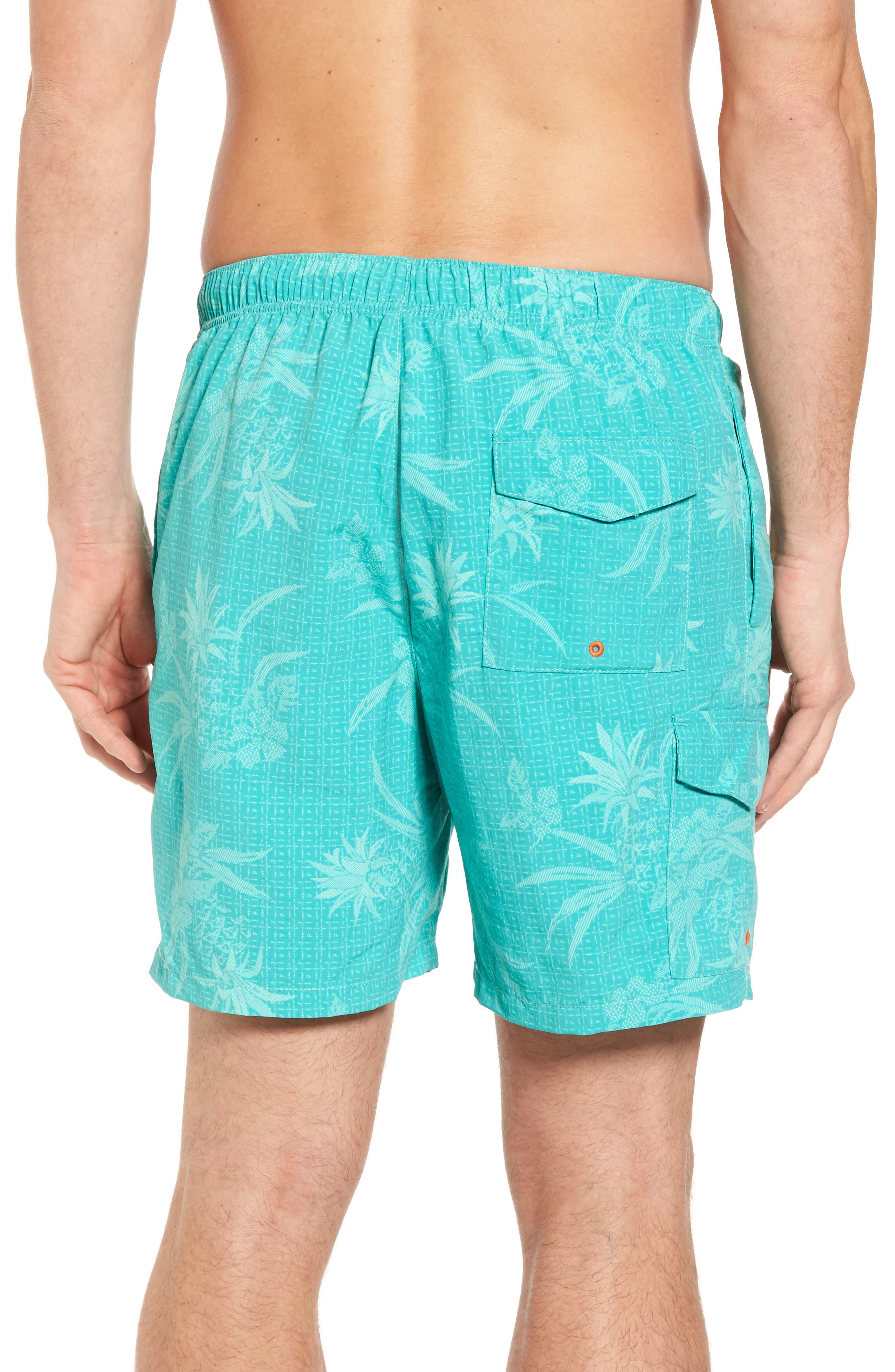 Naples Huli Pineapple Swim Trunks,                             Alternate thumbnail 2, color,                             Castaway Green