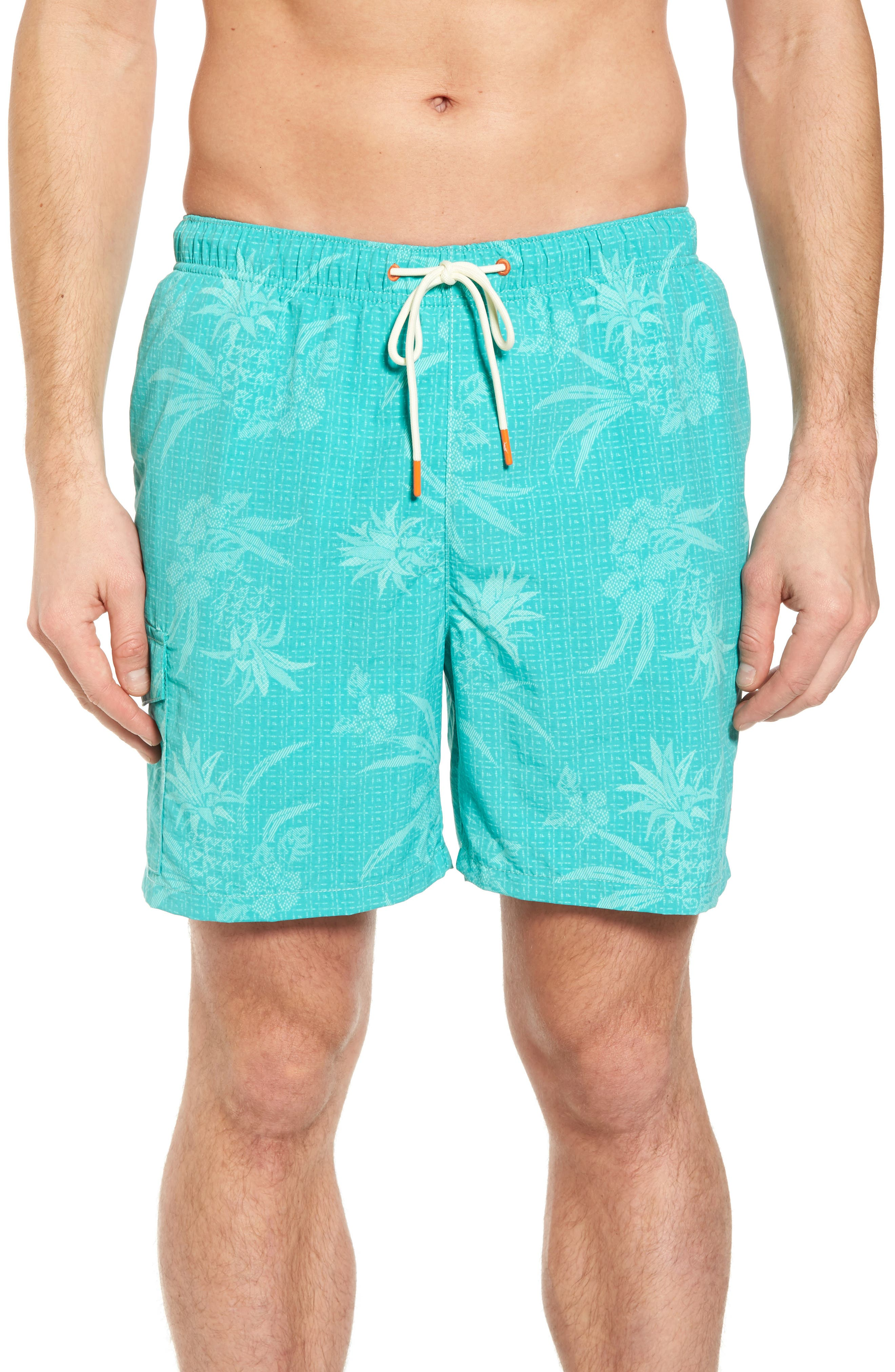 Naples Huli Pineapple Swim Trunks,                         Main,                         color, Castaway Green
