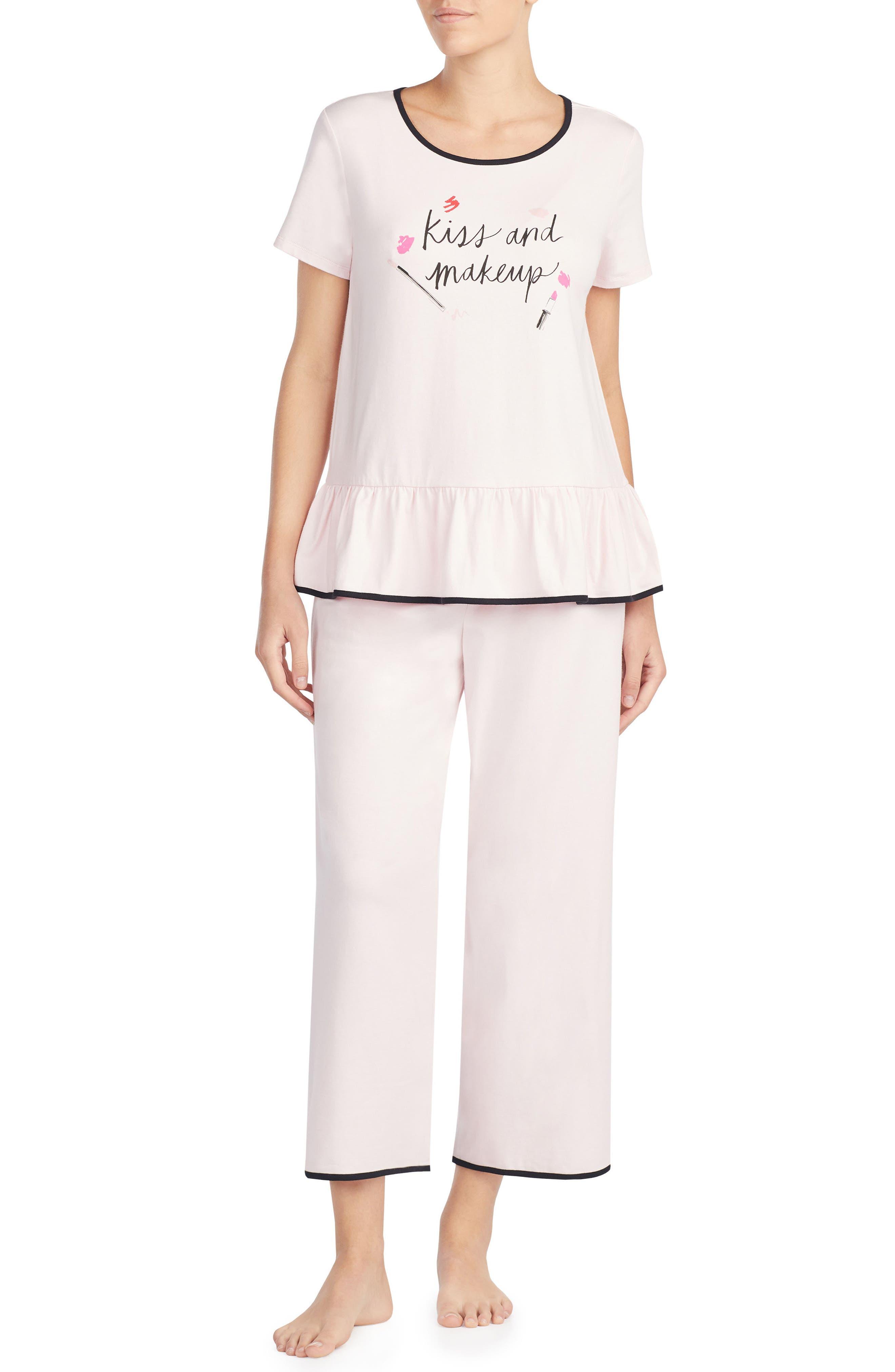 Alternate Image 1 Selected - kate spade new york kiss & makeup crop jersey pajamas