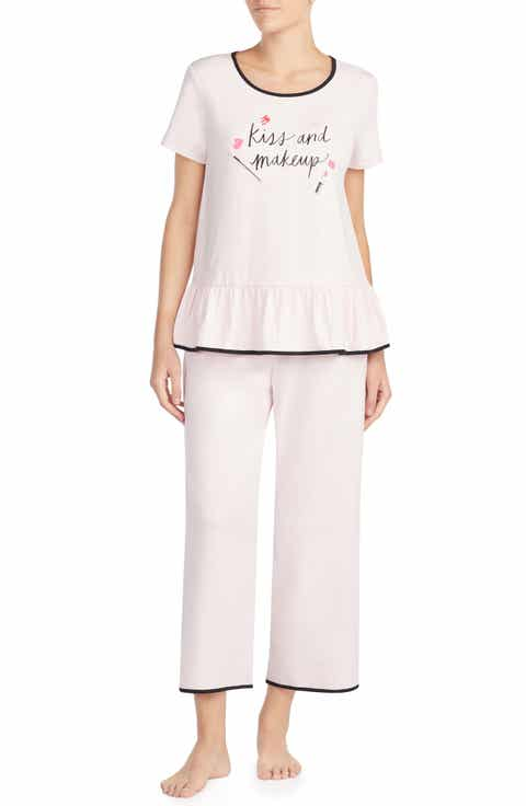 kate spade new york kiss & makeup crop jersey pajamas