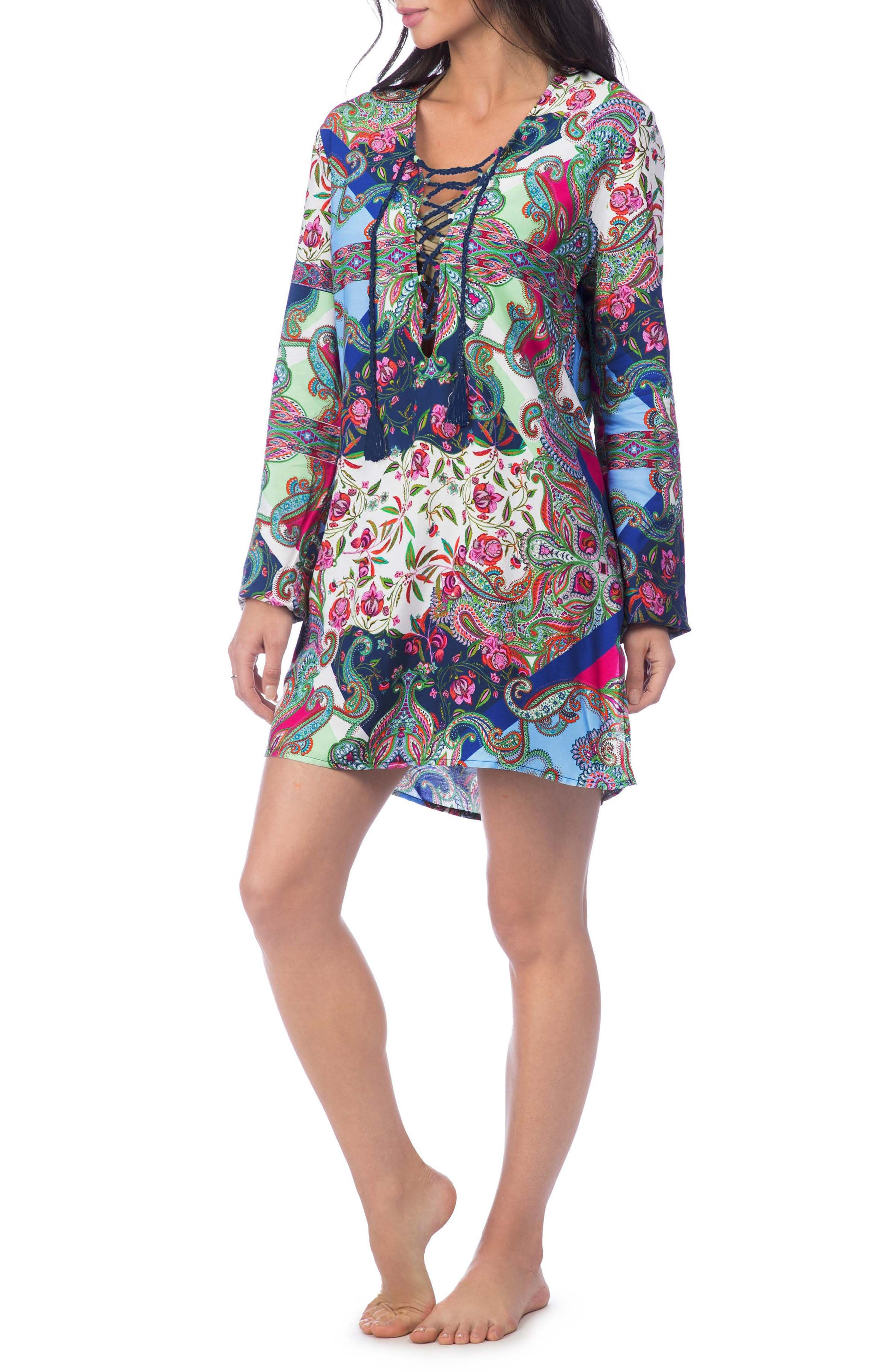 Scarf Gypsy Lace Front Cover-Up Tunic,                             Main thumbnail 1, color,                             Navy Multi
