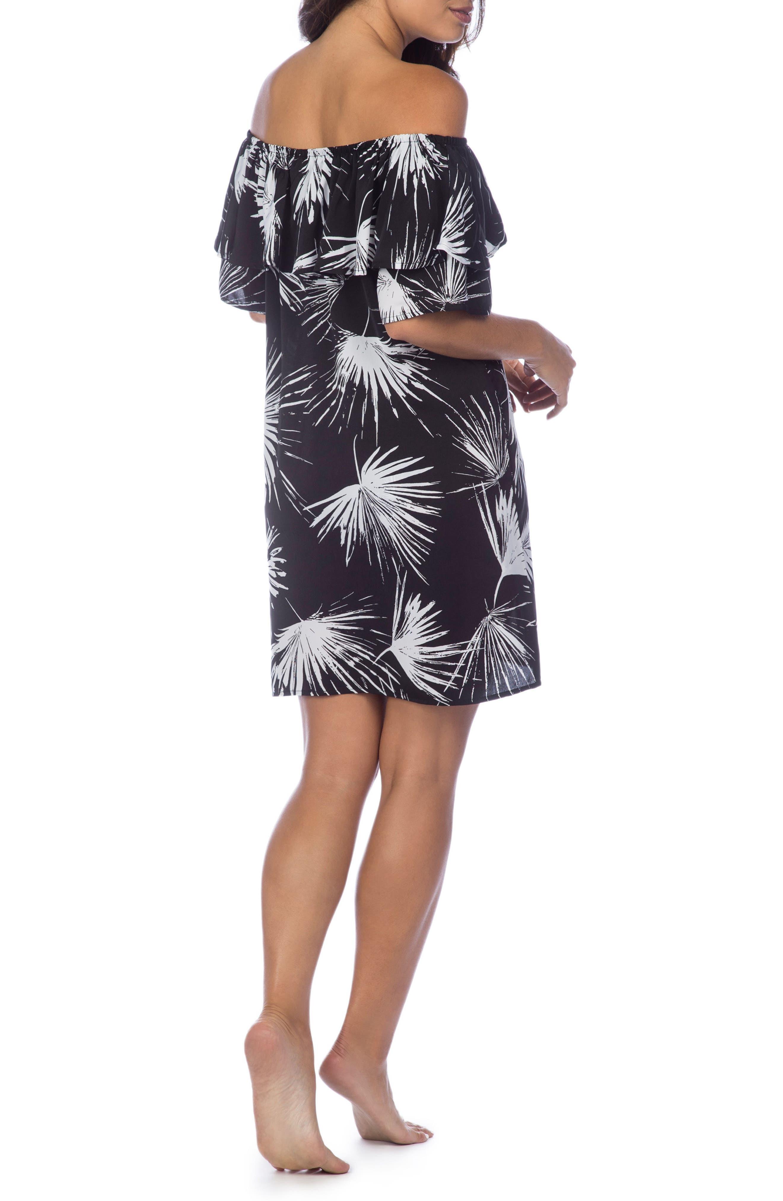 Petal Pusher Off the Shoulder Dress,                             Alternate thumbnail 2, color,                             Black/ White