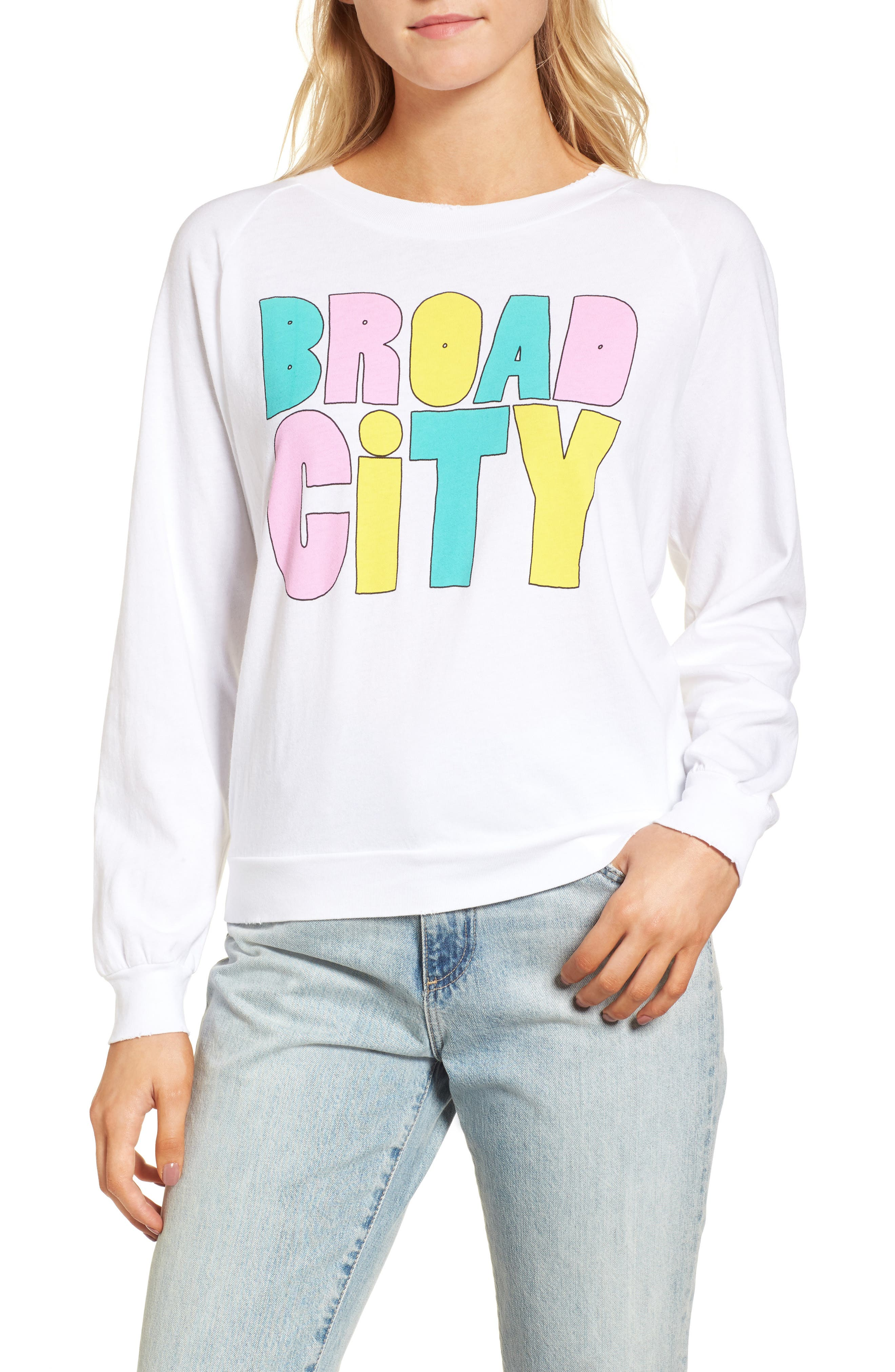 Broad City Cotton Graphic Sweatshirt,                         Main,                         color, Clean White