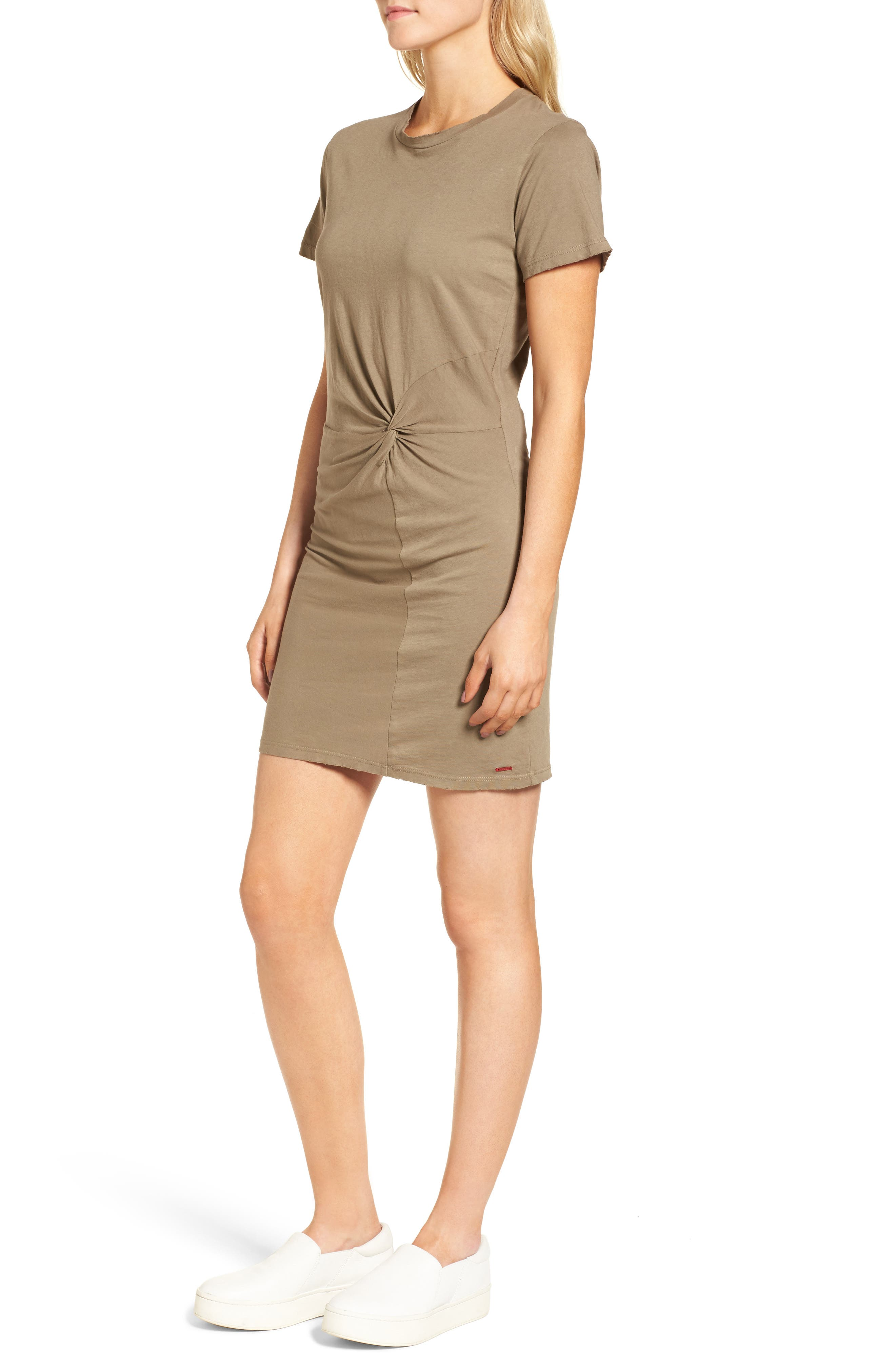 Jazz Knotted T-Shirt Dress,                             Alternate thumbnail 3, color,                             Army