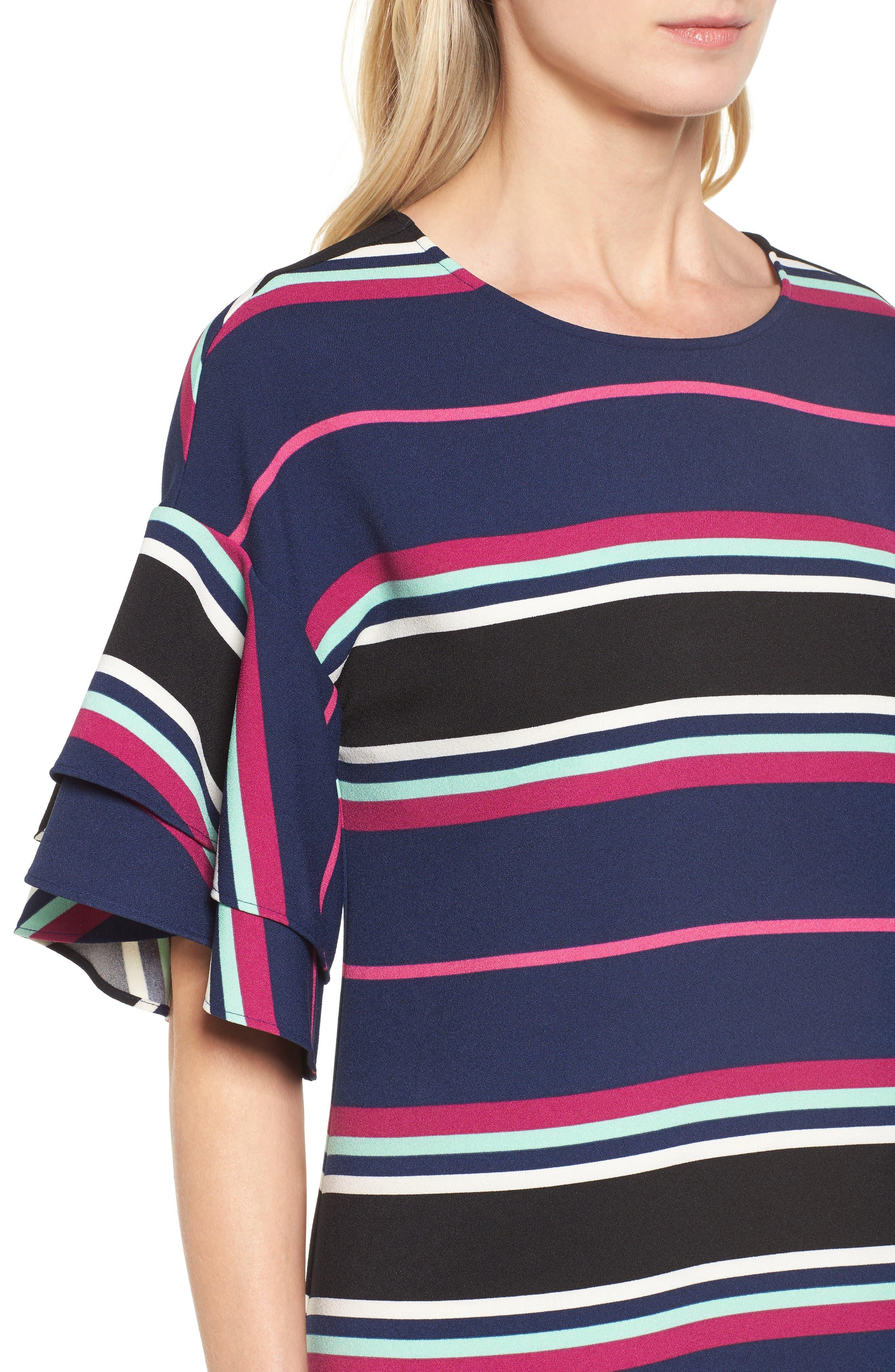 Ruffle Sleeve Shift Dress,                             Alternate thumbnail 4, color,                             Navy- Pink Multi Stripe