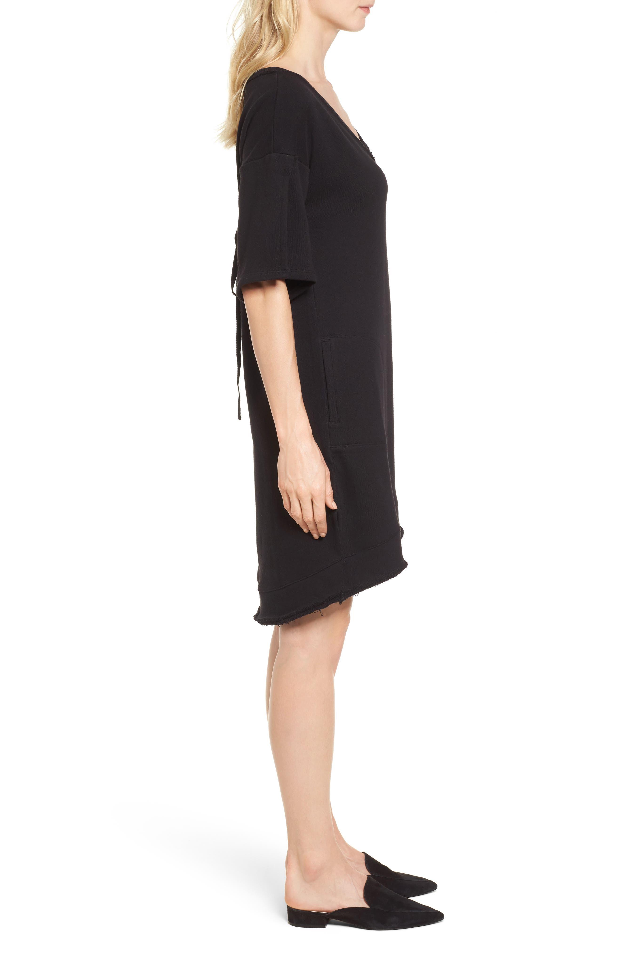Lace-Up T-Shirt Dress,                             Alternate thumbnail 3, color,                             Black