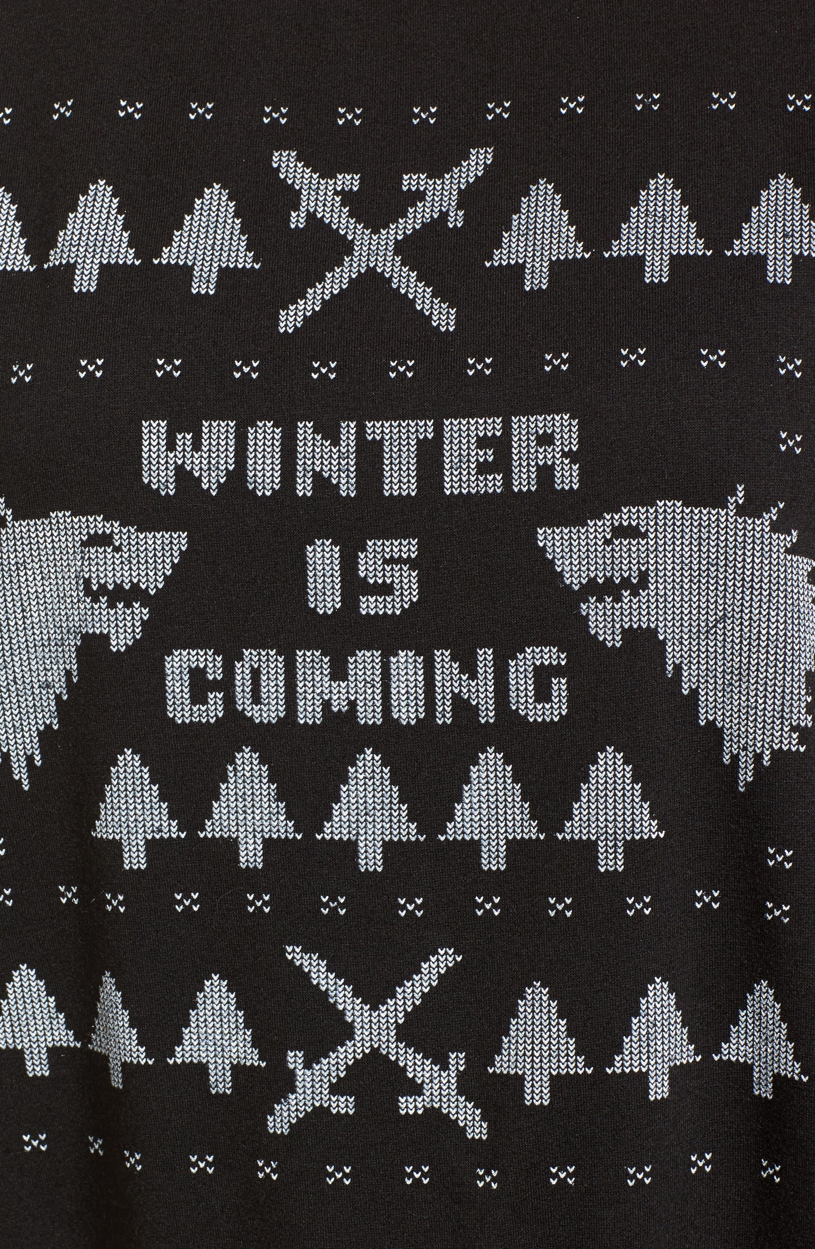 Winter Is Coming Sweatshirt,                             Alternate thumbnail 5, color,                             Black
