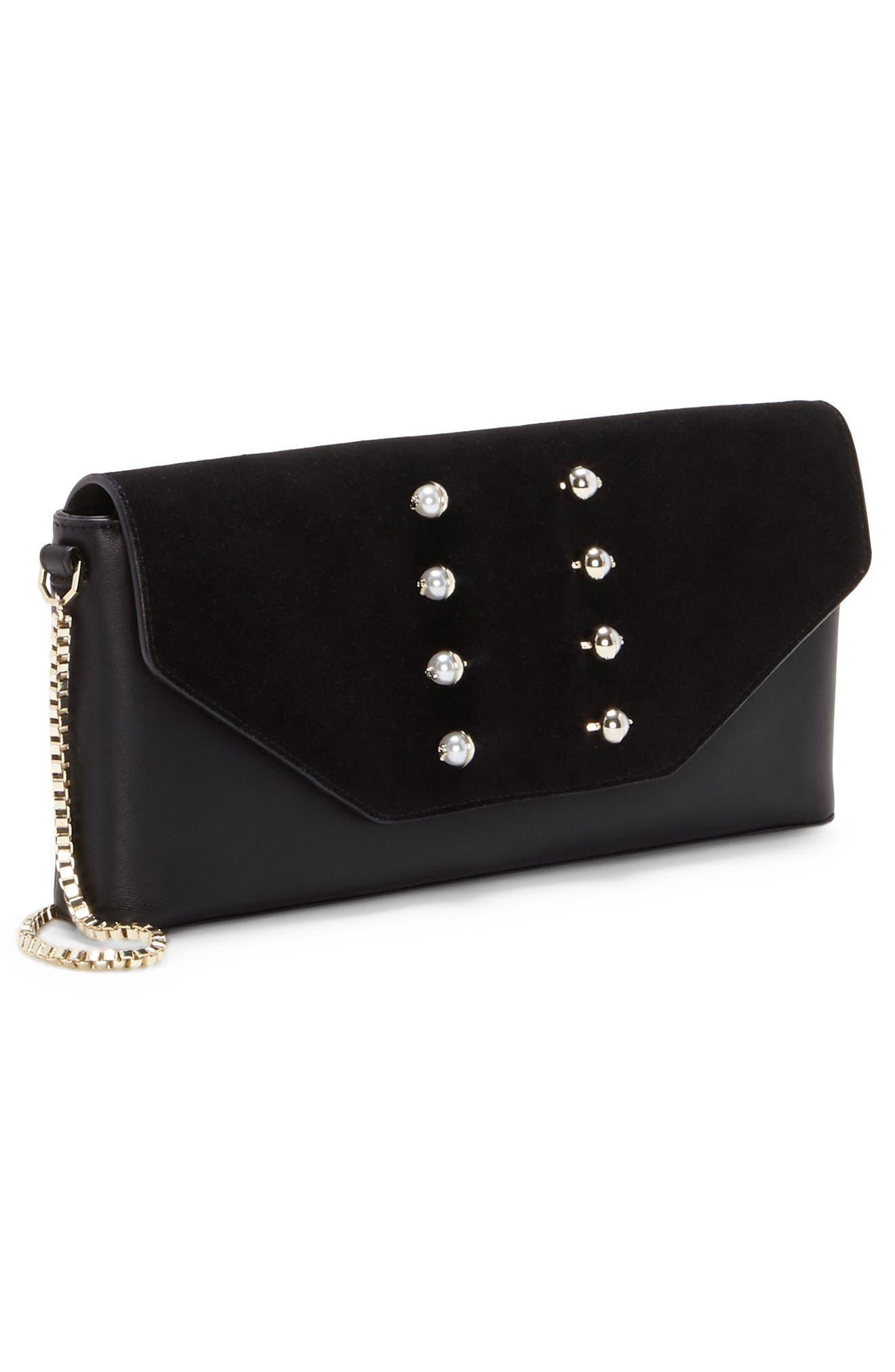 Gya Imitation Pearl Embellished Suede & Leather Clutch,                             Alternate thumbnail 4, color,                             Black