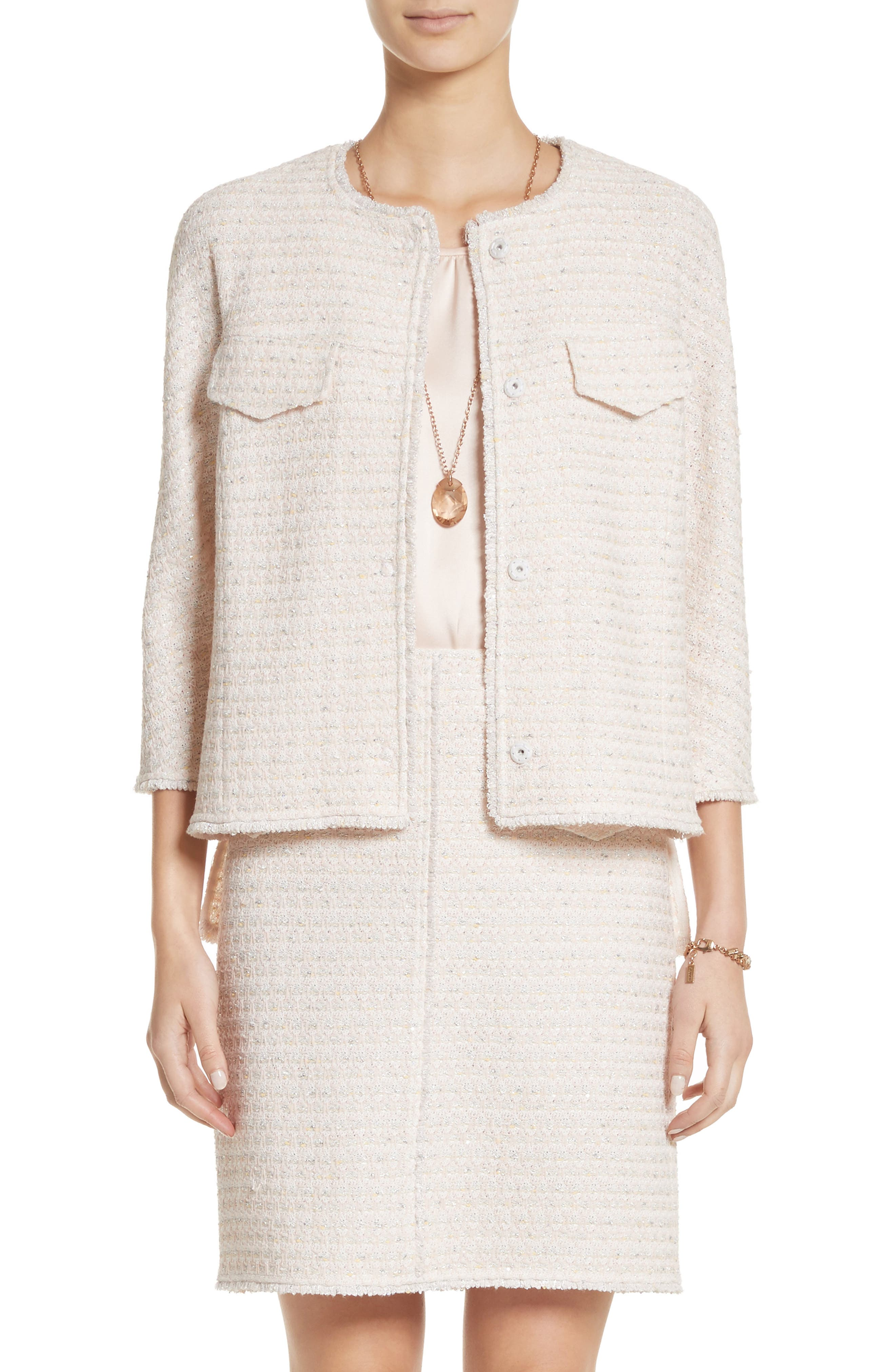 Metallic Tweed Jacket,                         Main,                         color, Peach