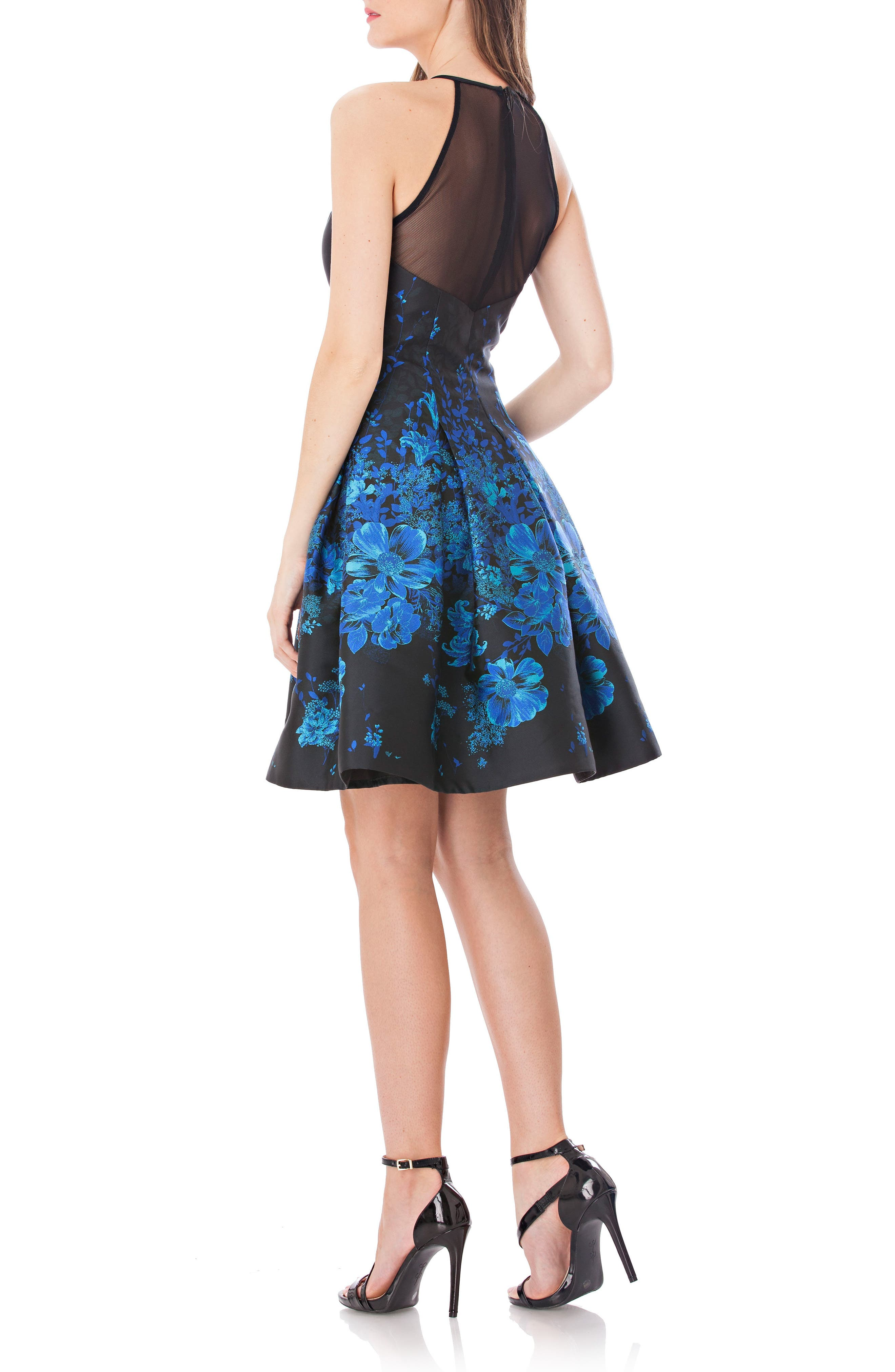 Mesh Back Halter Fit & Flare Dress,                             Alternate thumbnail 2, color,                             Black/ Blue