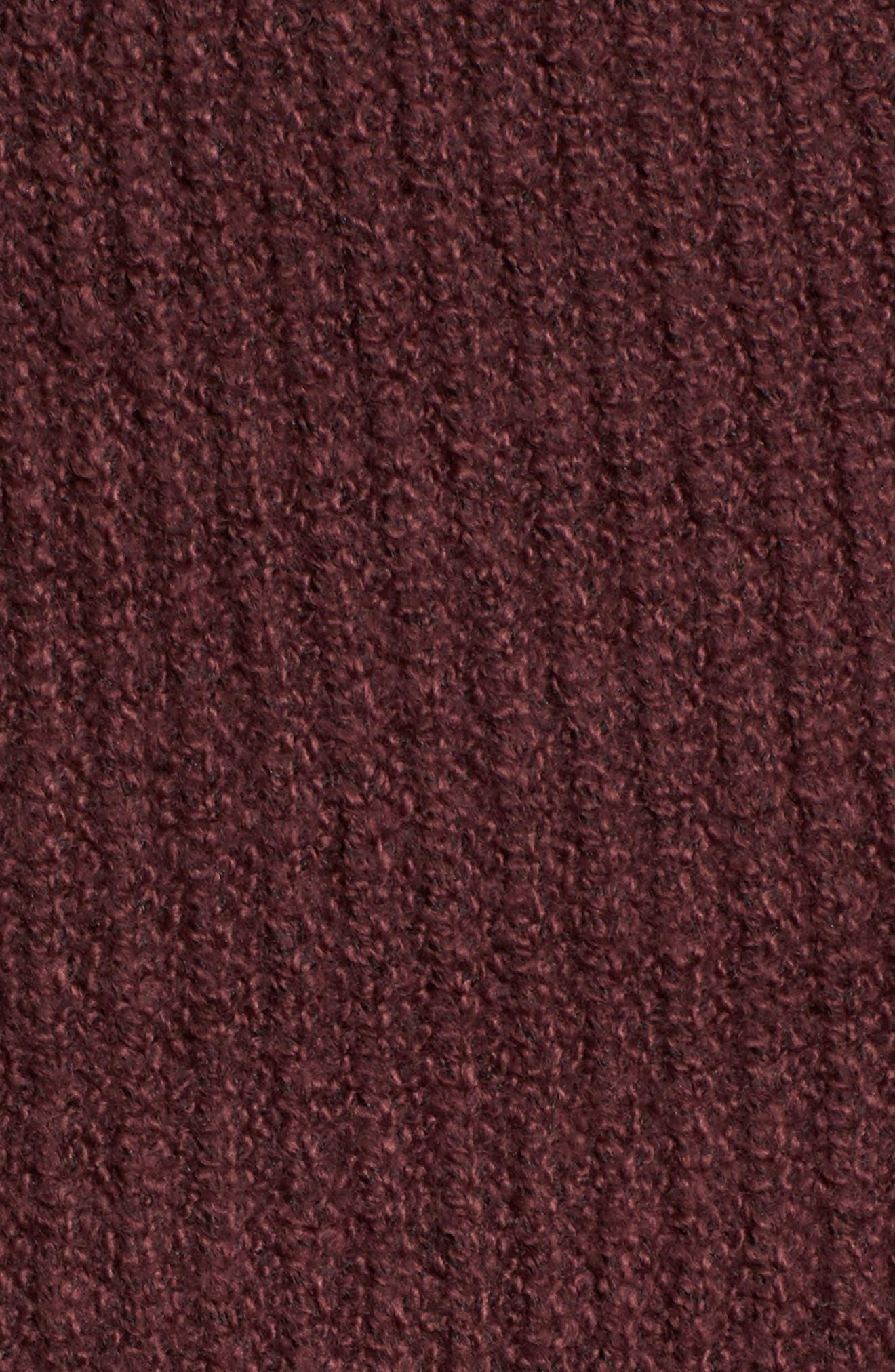 Ribbed Cardigan Sweater,                             Alternate thumbnail 5, color,                             Burgundy Fudge