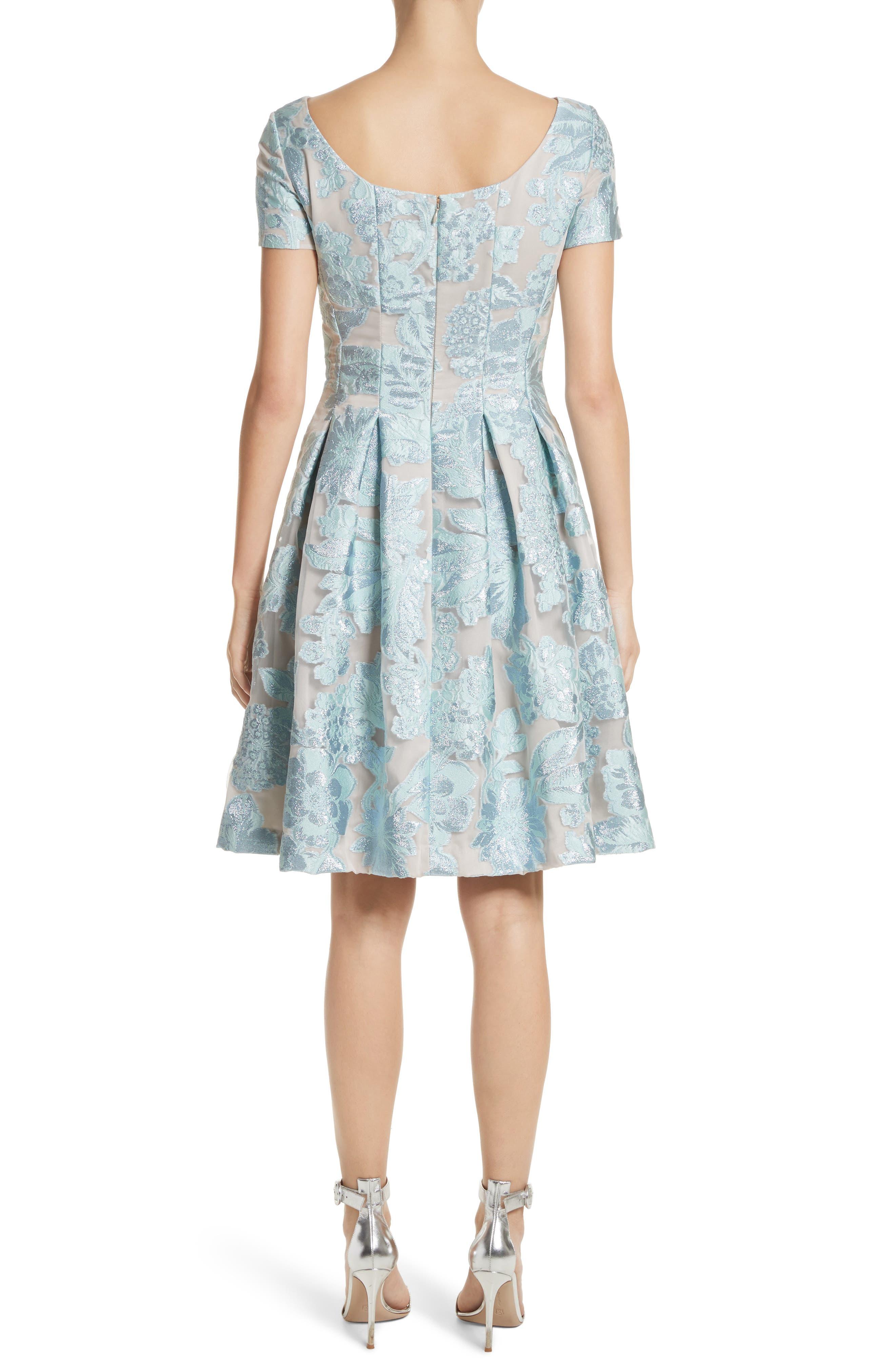 Floral Fil Coupé Organza Dress,                             Alternate thumbnail 2, color,                             Mint/ Silver