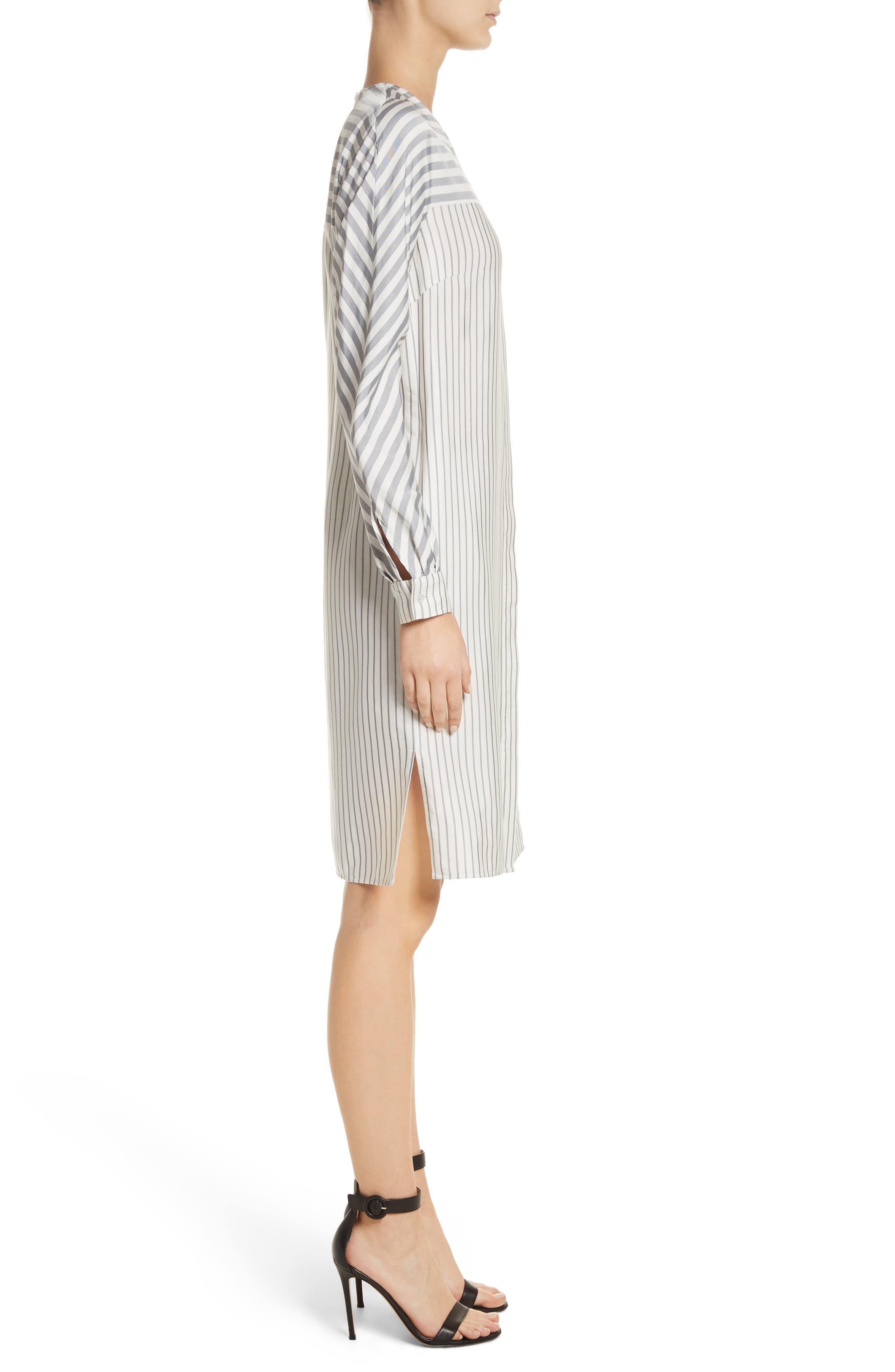Alternate Image 3  - St. John Collection Stripe Tie Neck Shirtdress