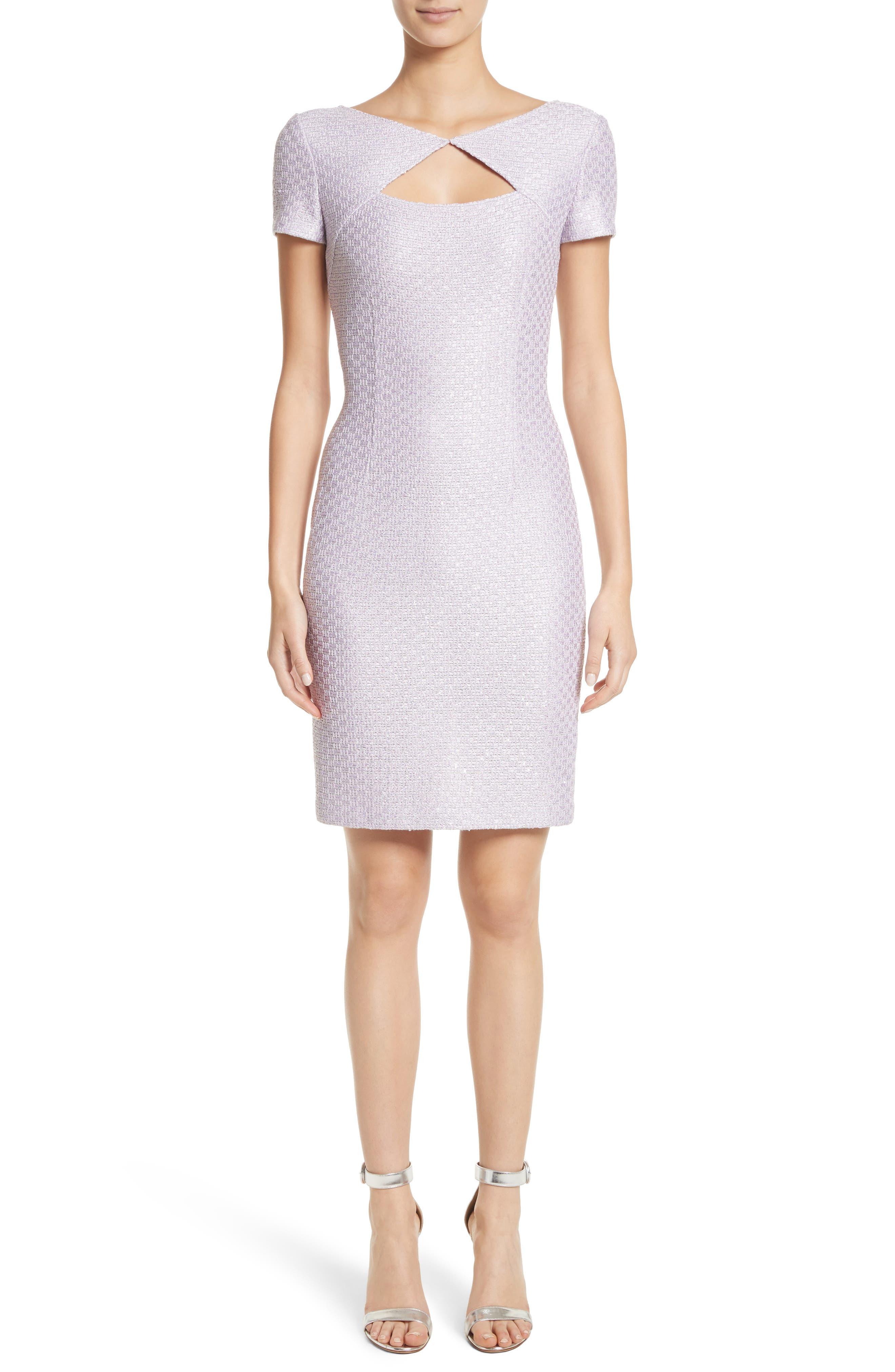 Hansh Sequin Knit Cutout Dress,                             Main thumbnail 1, color,                             Lilac Multi