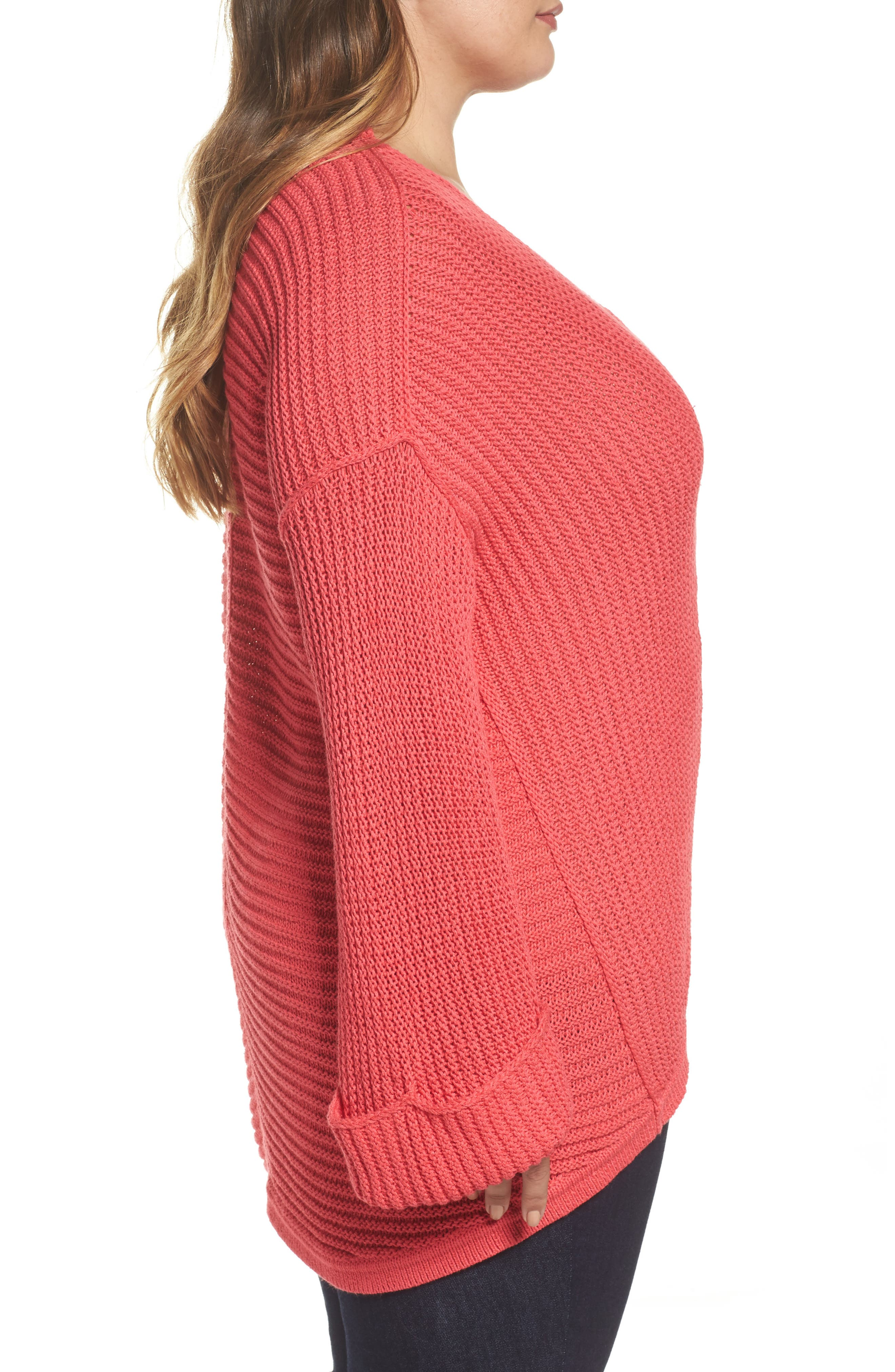 Cuffed Bell Sleeve Sweater,                             Alternate thumbnail 3, color,                             Pink Ribbon