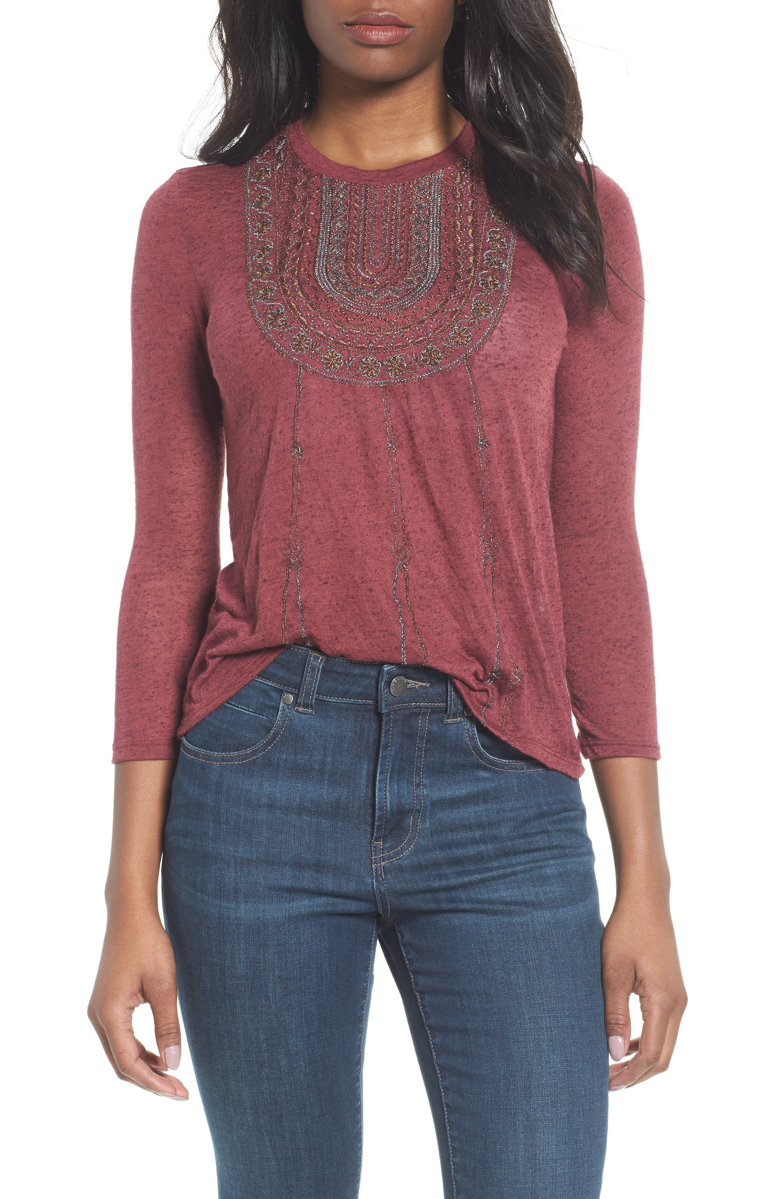 Lucky Brand Embroidered Bib Top