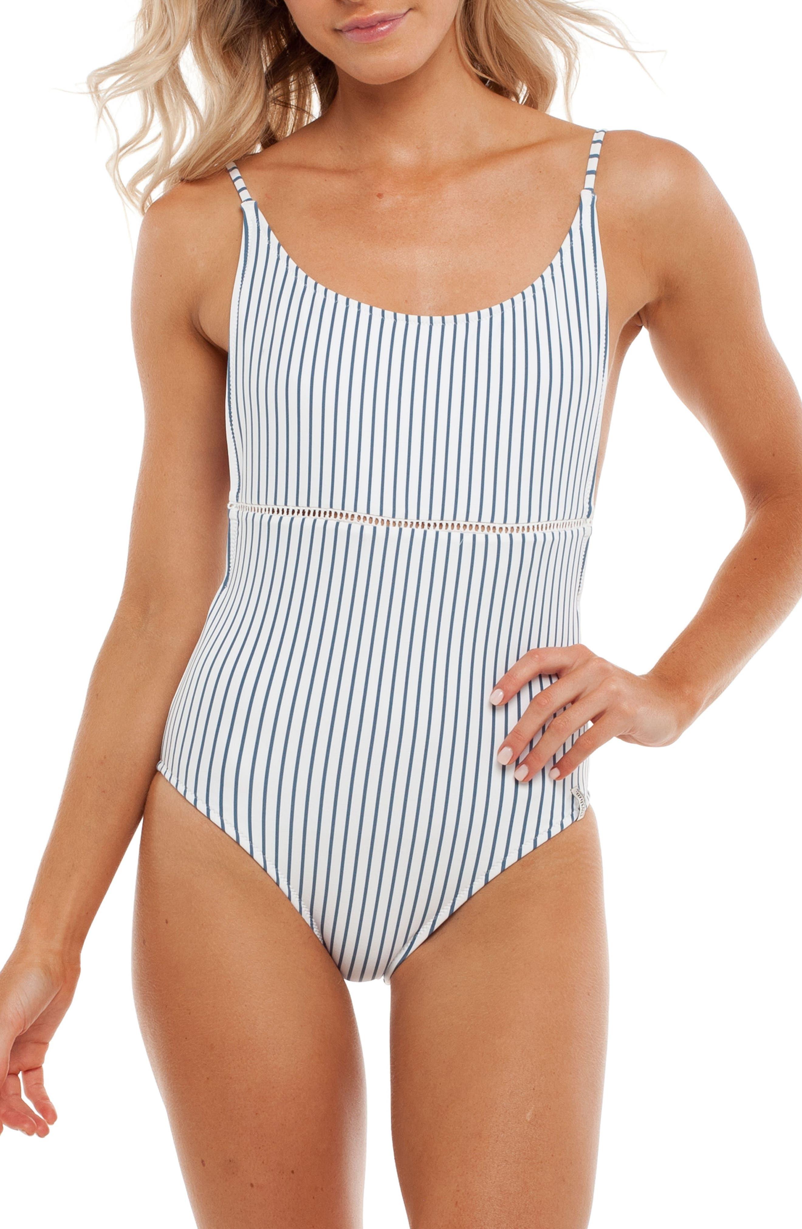 Summer Stripe One-Piece Swimsuit,                             Main thumbnail 1, color,                             Malibu