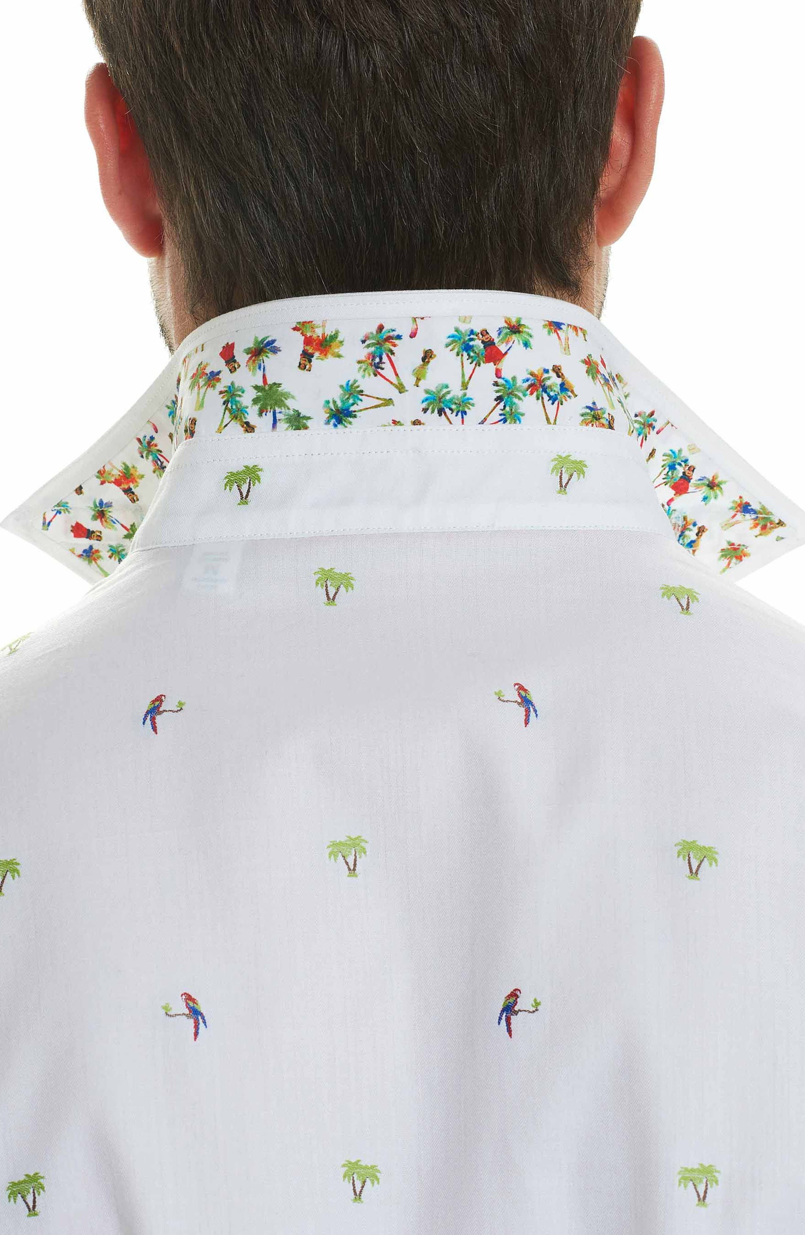 Palm Leaves Classic Fit Sport Shirt,                             Alternate thumbnail 3, color,                             White