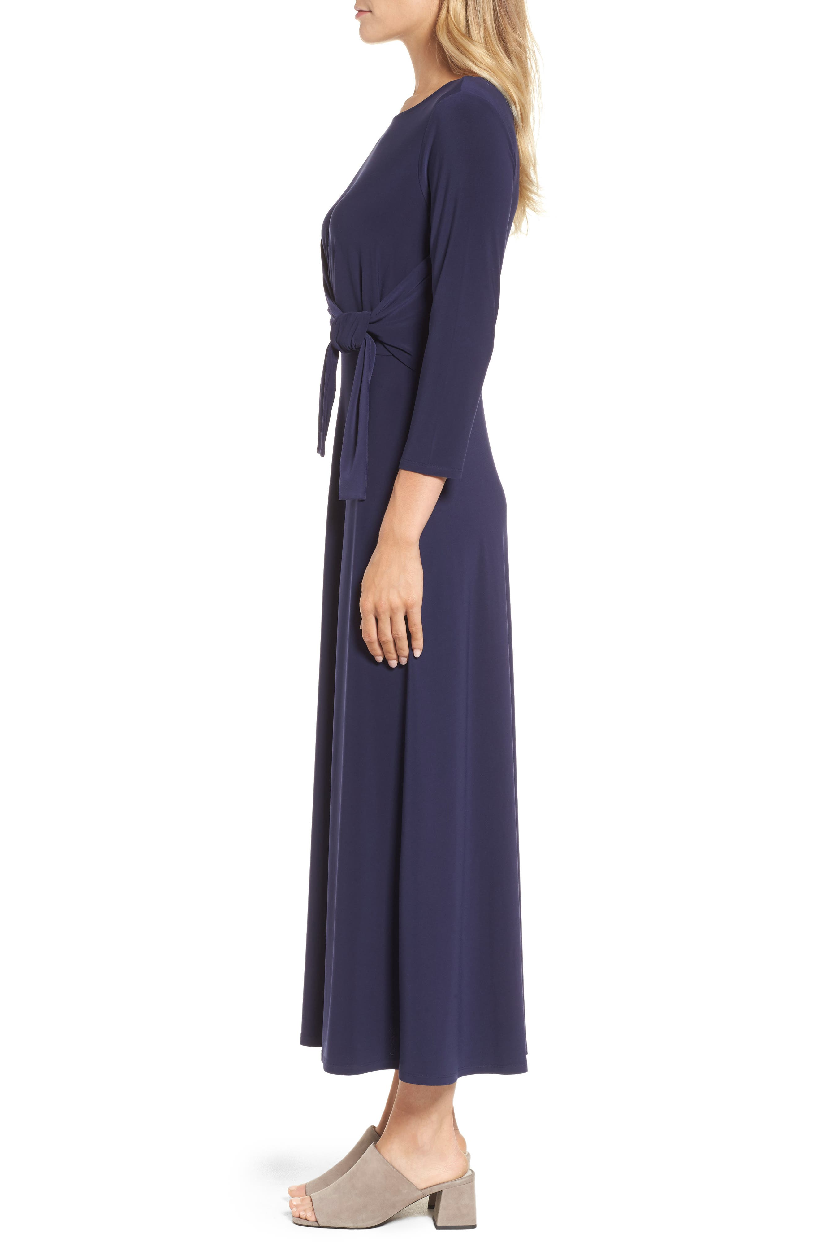 Cahus Faux Wrap Midi Dress,                             Alternate thumbnail 3, color,                             Evening Na