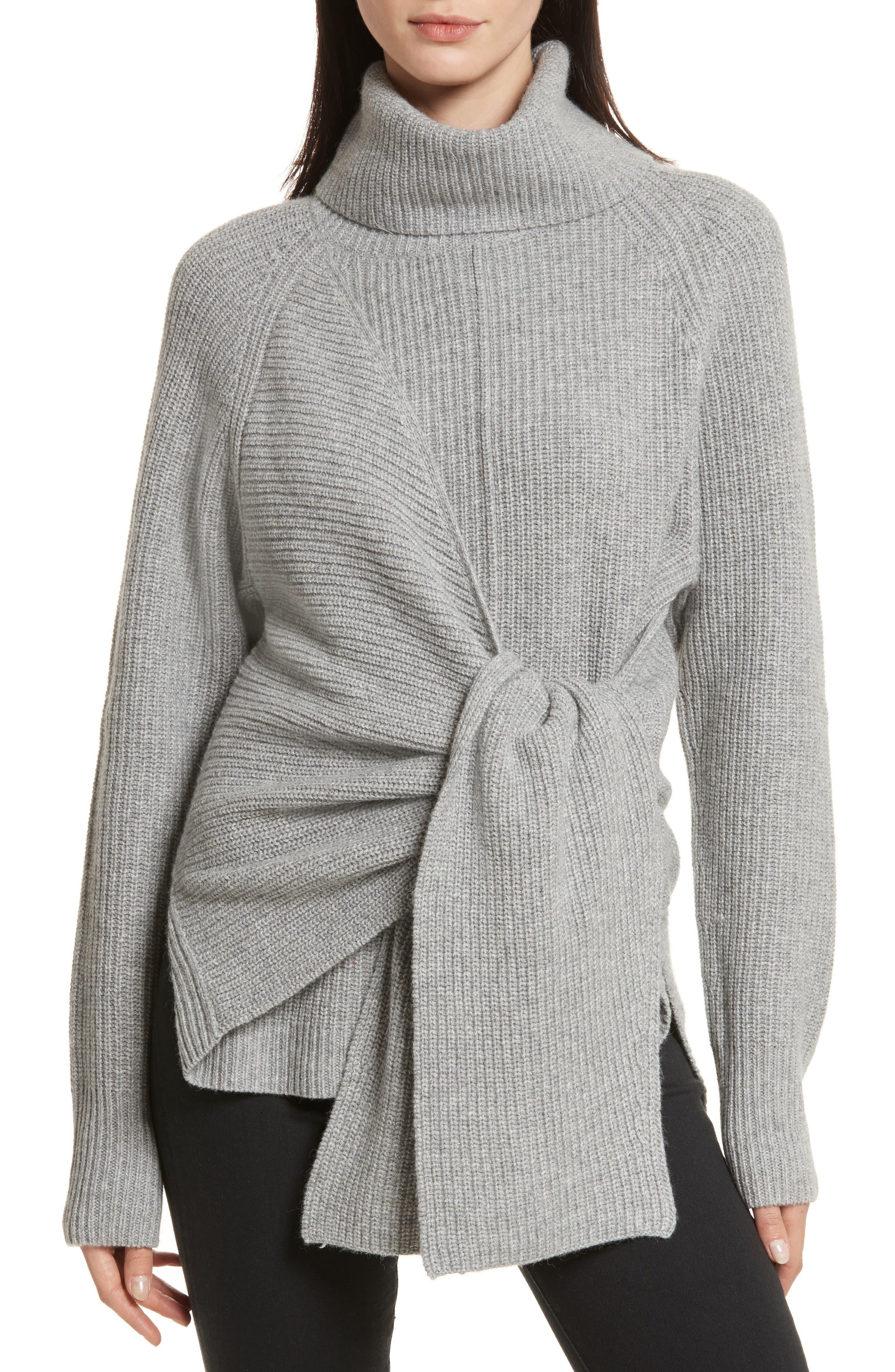 Bree Wrap Waist Sweater,                             Main thumbnail 1, color,                             Dovetail Melange