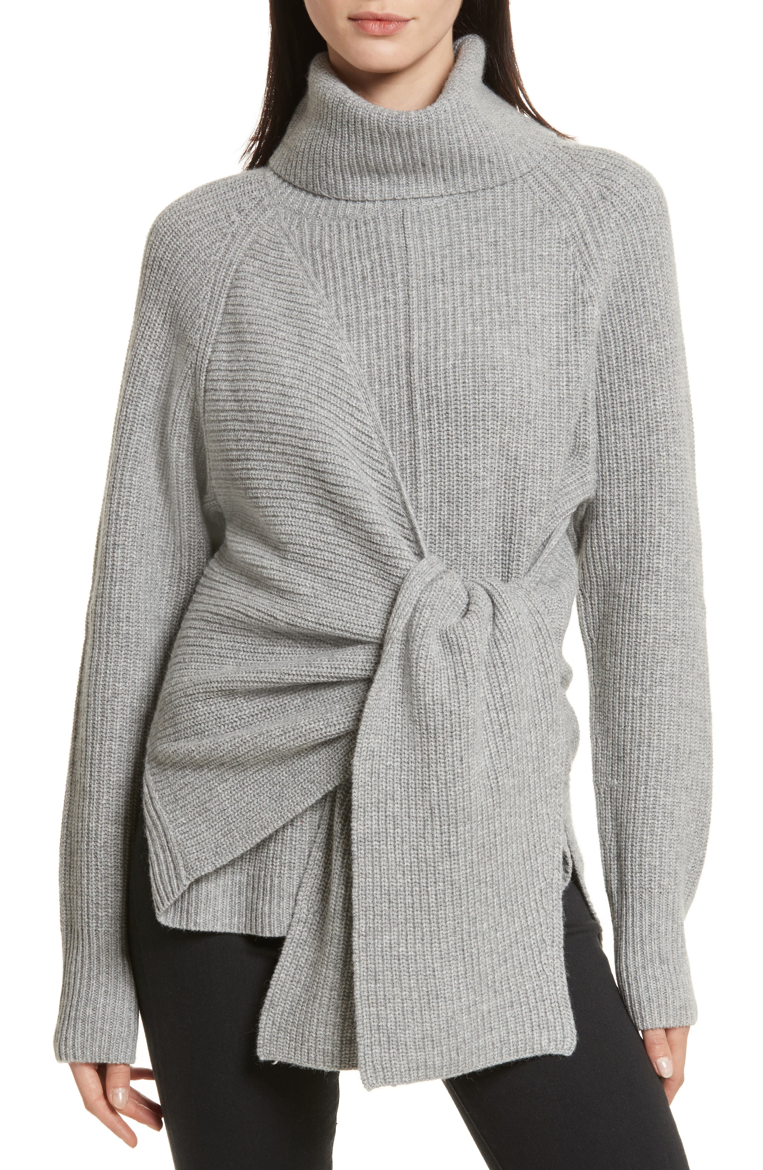 Bree Wrap Waist Sweater,                         Main,                         color, Dovetail Melange